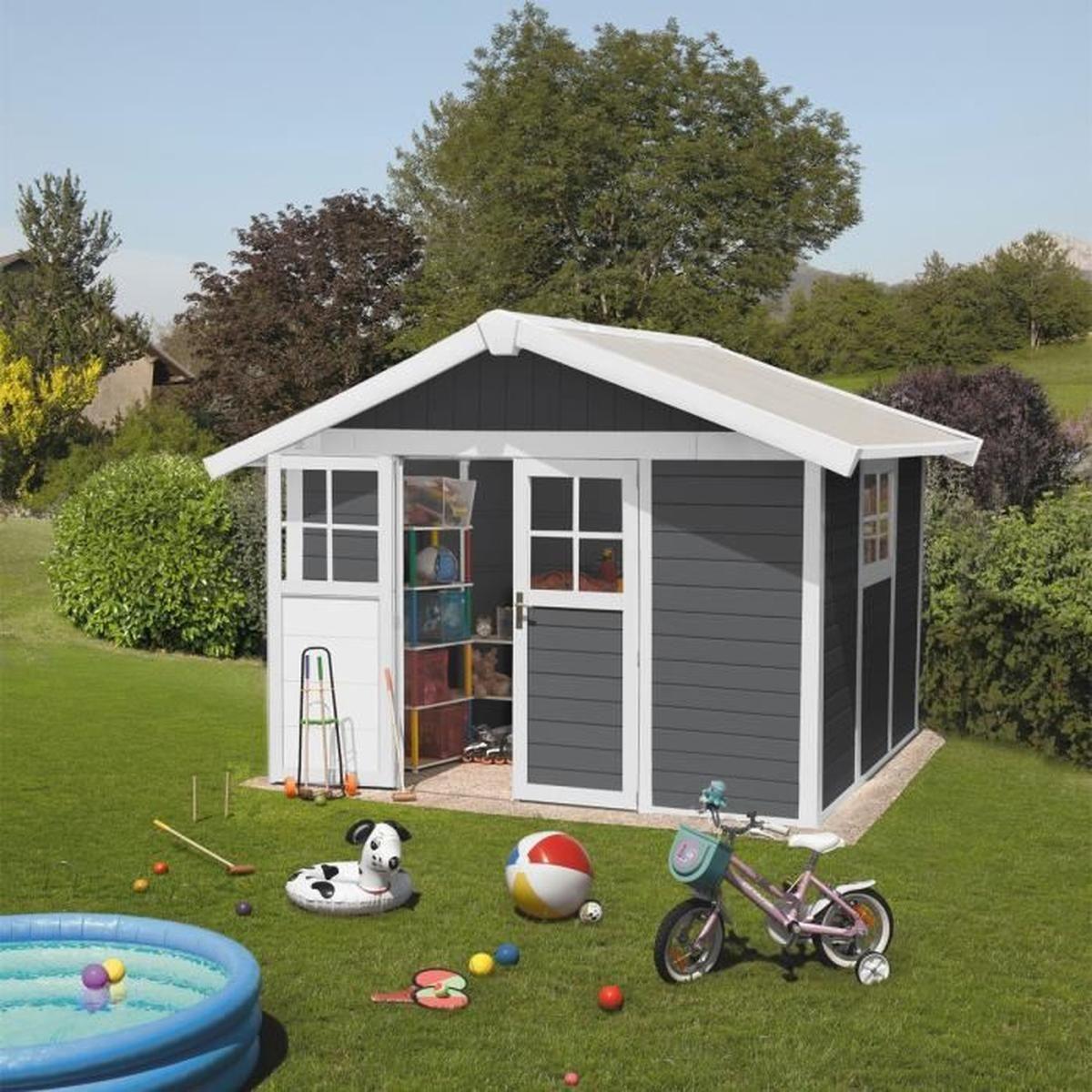 Abri De Jardin Deco 7,5 Gris Foncé - 7.5 M² + Kit D'ancrage ... destiné Abri De Jardin En Kit