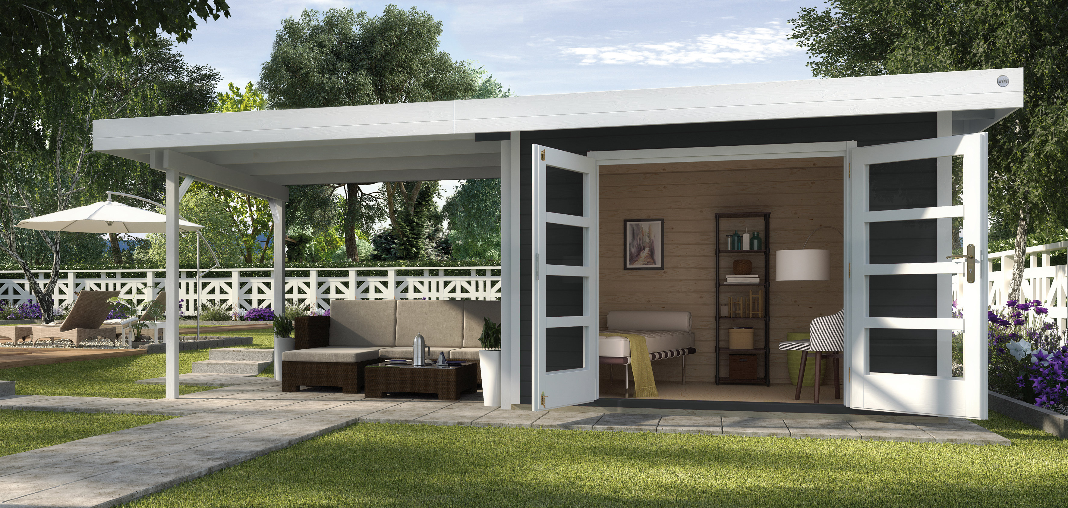 Abri De Jardin Design Toit Plat Avec Auvent - Abri Bois De 10 À 15 M² Nea  Concept intérieur Abri Jardin Toit Plat