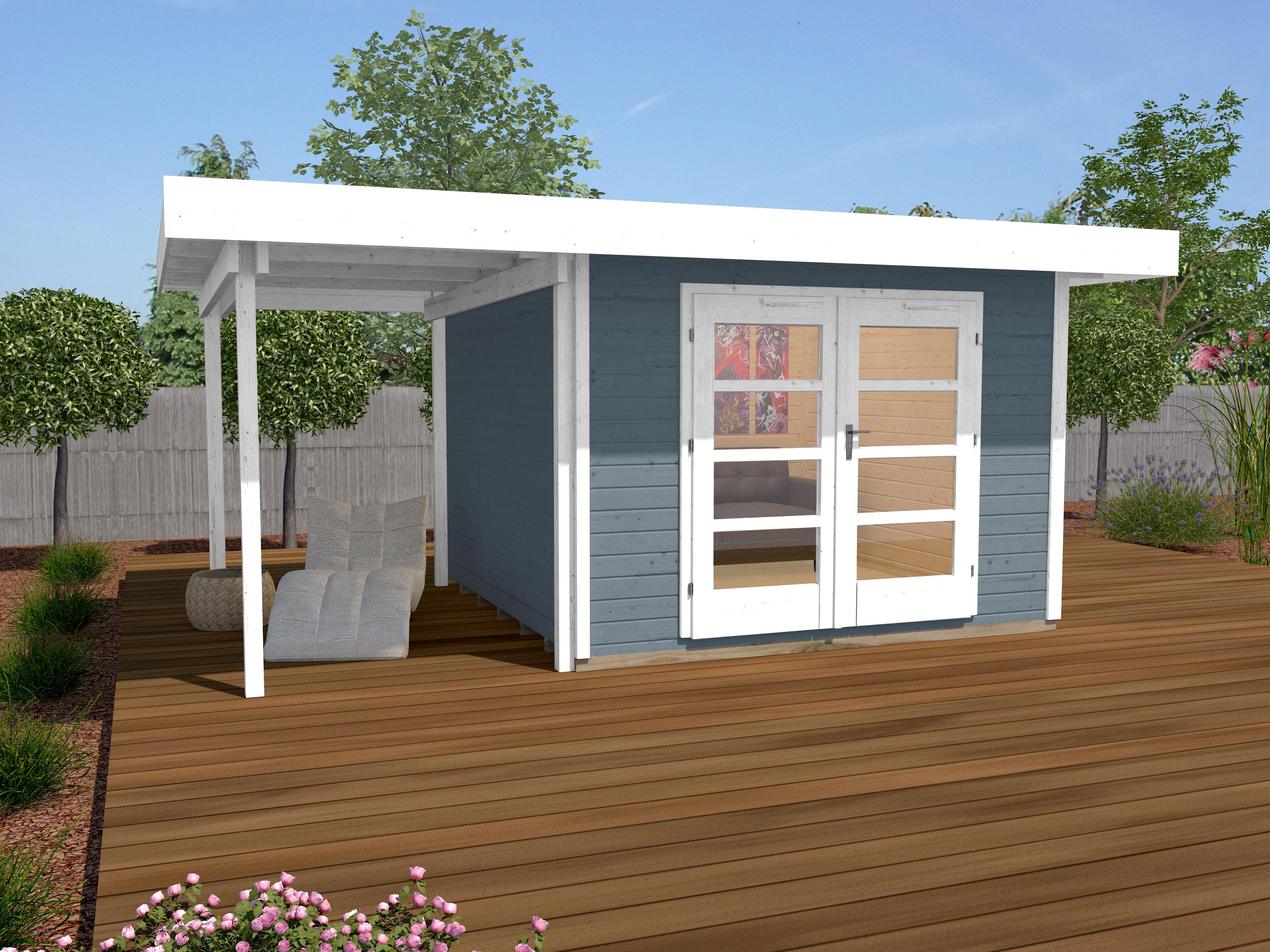 Abri De Jardin Design Toit Plat Avec Auvent Coté - Abri Bois De 10 À 15 M²  Nea Concept pour Abri De Jardin Design