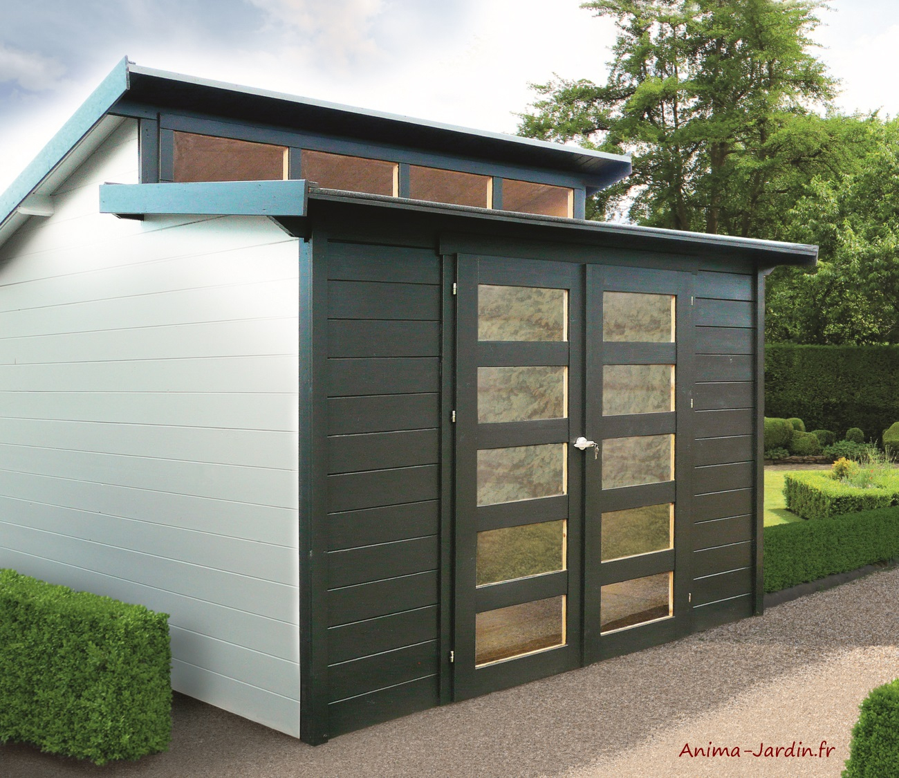 Abri De Jardin En Bois 28Mm, Milano, 9M², 2 Portes, Solid ... tout Abri Bois Exterieur