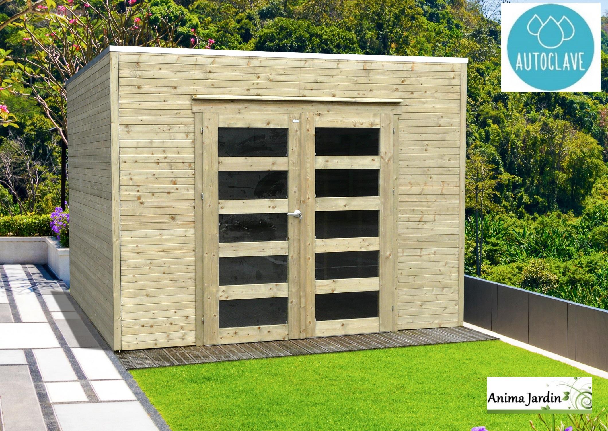 Abri De Jardin En Bois Autoclave 19Mm, Bari, 8M², Toit Plat ... destiné Abri Jardin Bois 5M2