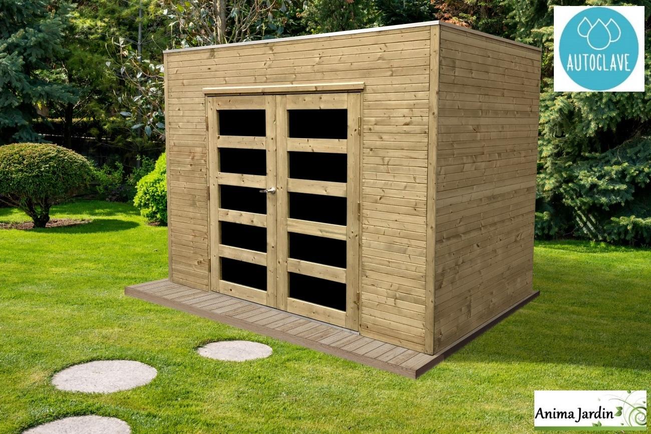 Abri De Jardin En Bois Autoclave 19Mm, Capri, 5M², Toit Plat ... destiné Abri Jardin Moderne