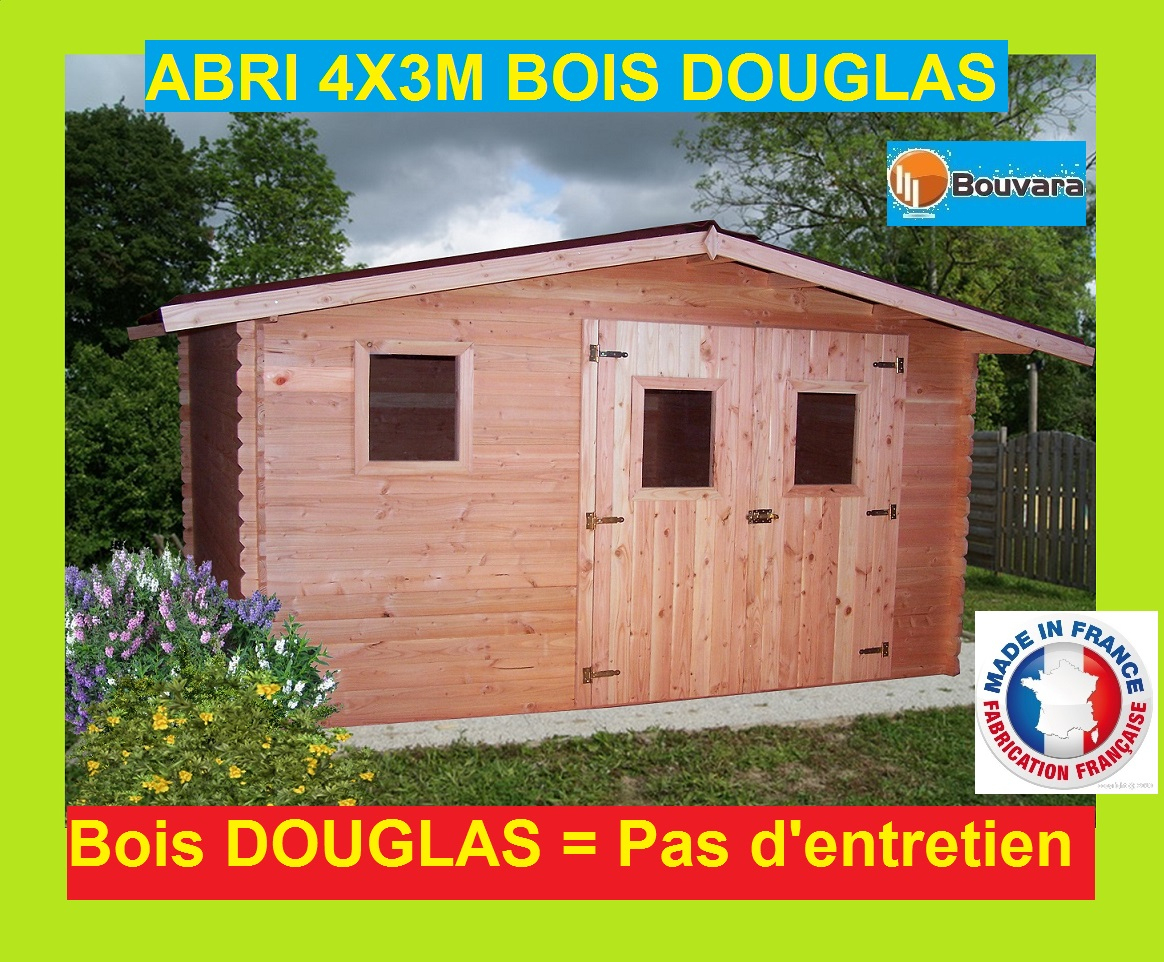 "Abri De Jardin En Bois Douglas 4X3M ""ontario"" 12M2 destiné Abri Jardin 12M2"
