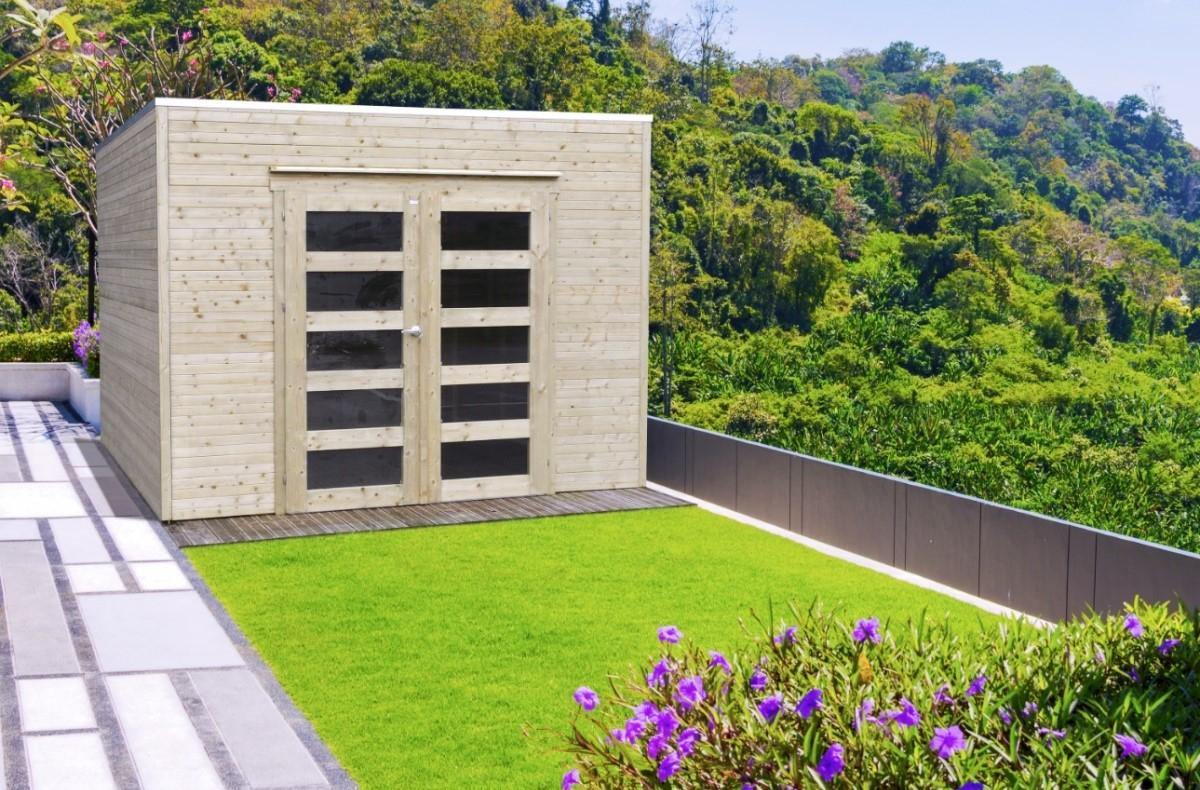 Abri De Jardin En Bois Traité Bari 19 Mm – 8,69 M² Avec Toit Plat intérieur Abri De Jardin Toit Plat