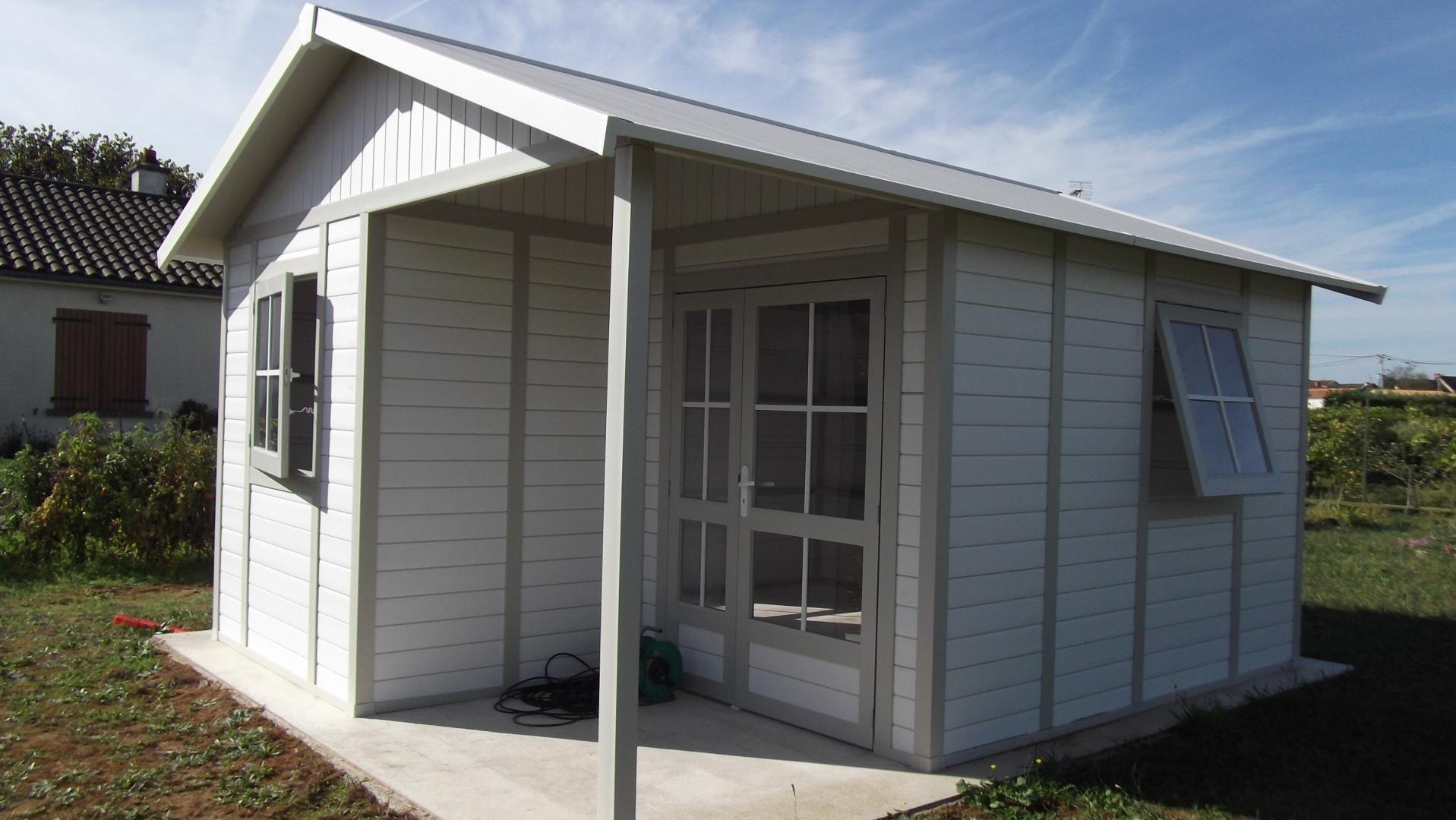 Abri De Jardin En Pvc 19,87M² Deco 20B Blanc Et Gris Vert ... avec Abri Jardin Grosfillex