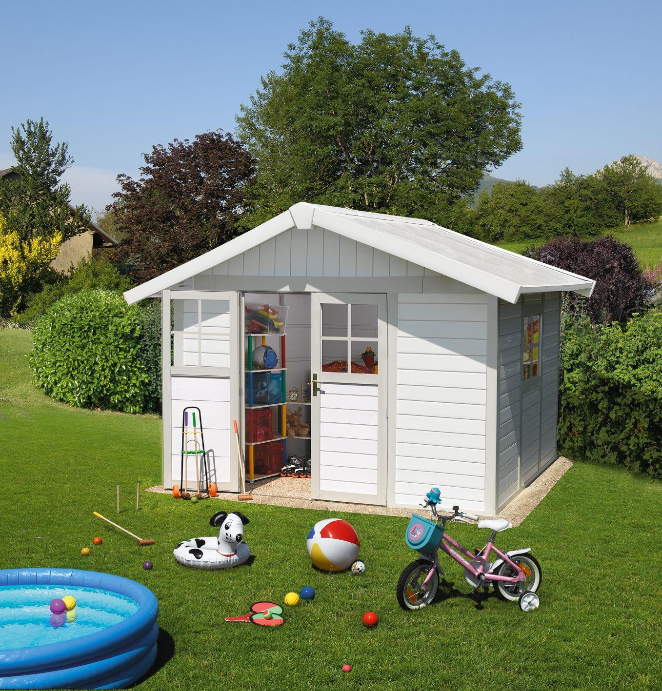 Abri De Jardin Grosfillex Déco 7.5M² , Gris/vert | Abri De ... intérieur Abri Jardin Grosfillex