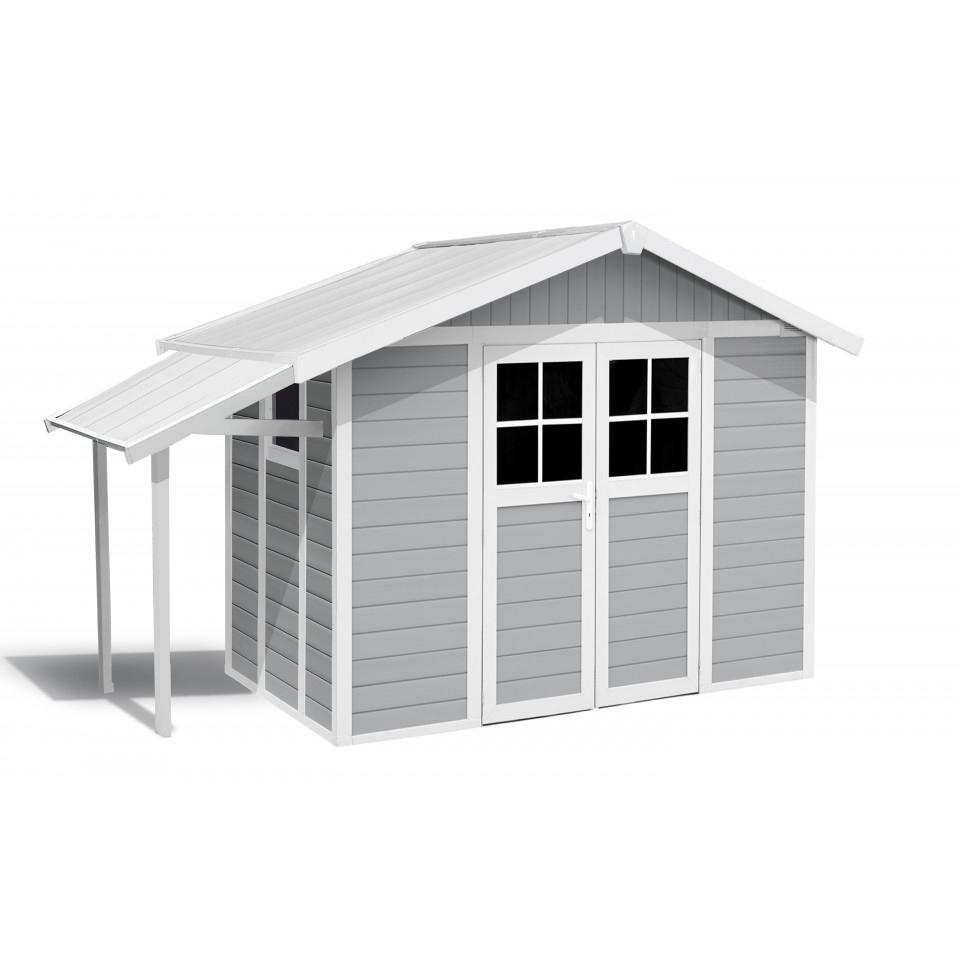 Abri De Jardin Lodge Déco 7,5 M² Gris Clair Avec Auvent tout Abri Jardin Grosfillex