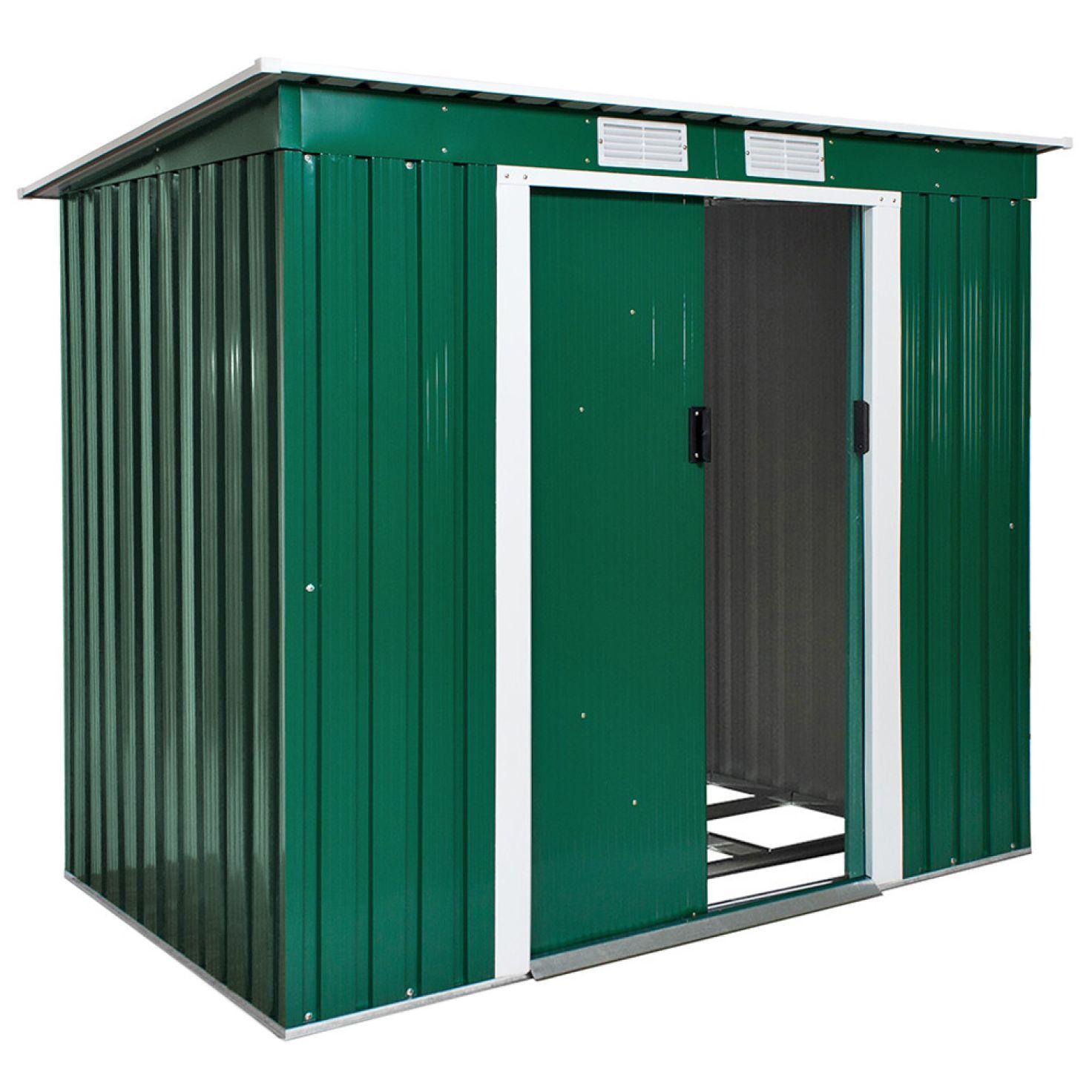 Abri De Jardin Métal 2,7 M² Toiture Monopente Vert à Abri Moto Pas Cher