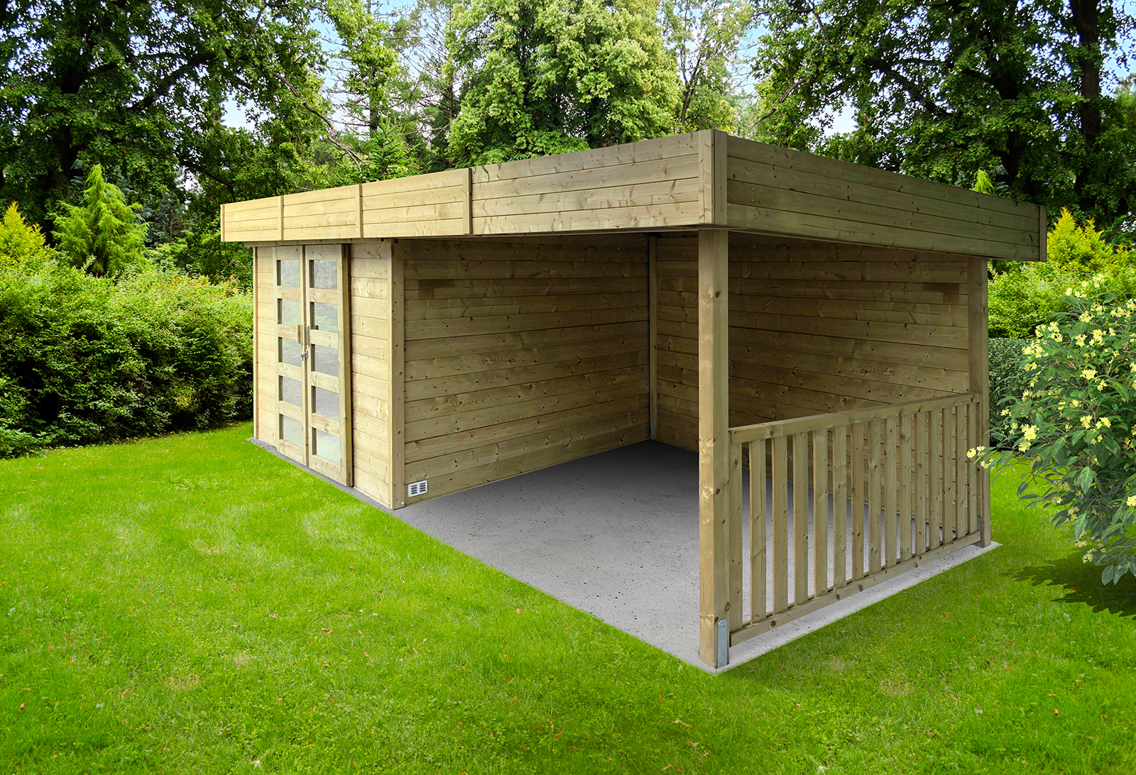 Abri De Jardin Moderne Arhus 28 Mm 3,3 + 3,17 X 2,45 M Solid - Mr.bricolage intérieur Abri Jardin Moderne