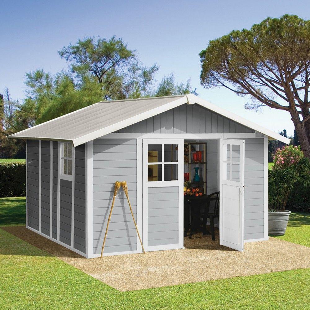 Abri De Jardin Résine Grosfillex 11,2 M² Ep. 26 Mm Deco Gris avec Abris De Jardin En Resine