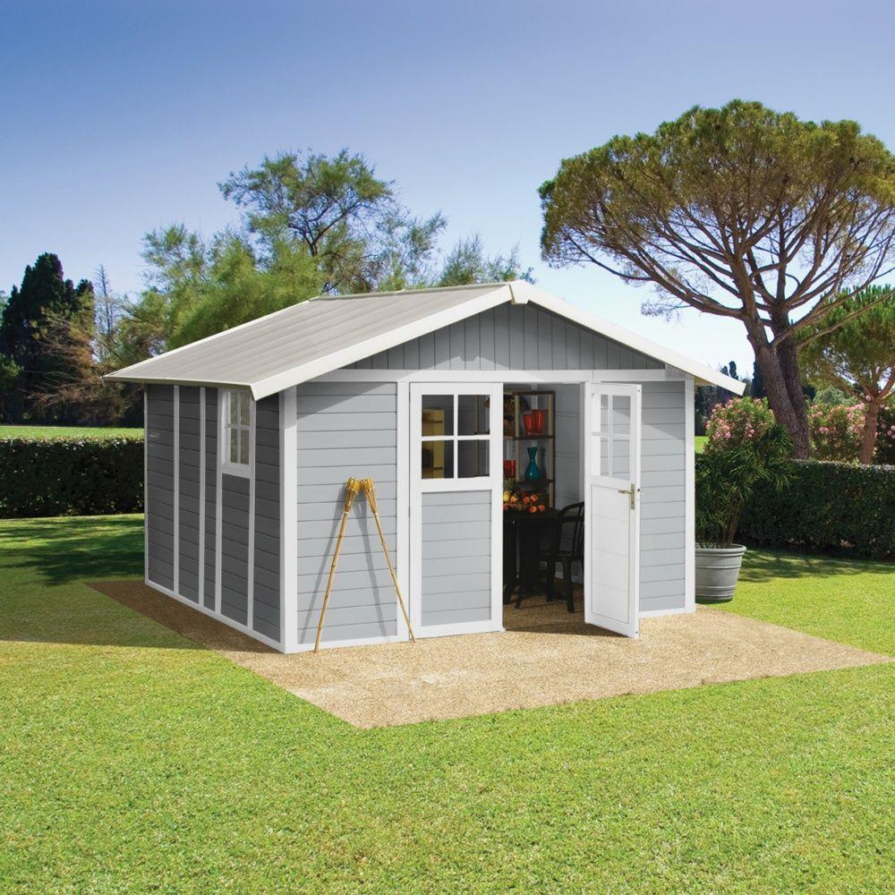 Abri De Jardin Résine Grosfillex 11,2 M² Ep. 26 Mm Deco Gris + Kit D'ancrage encequiconcerne Abri De Jardin En Kit
