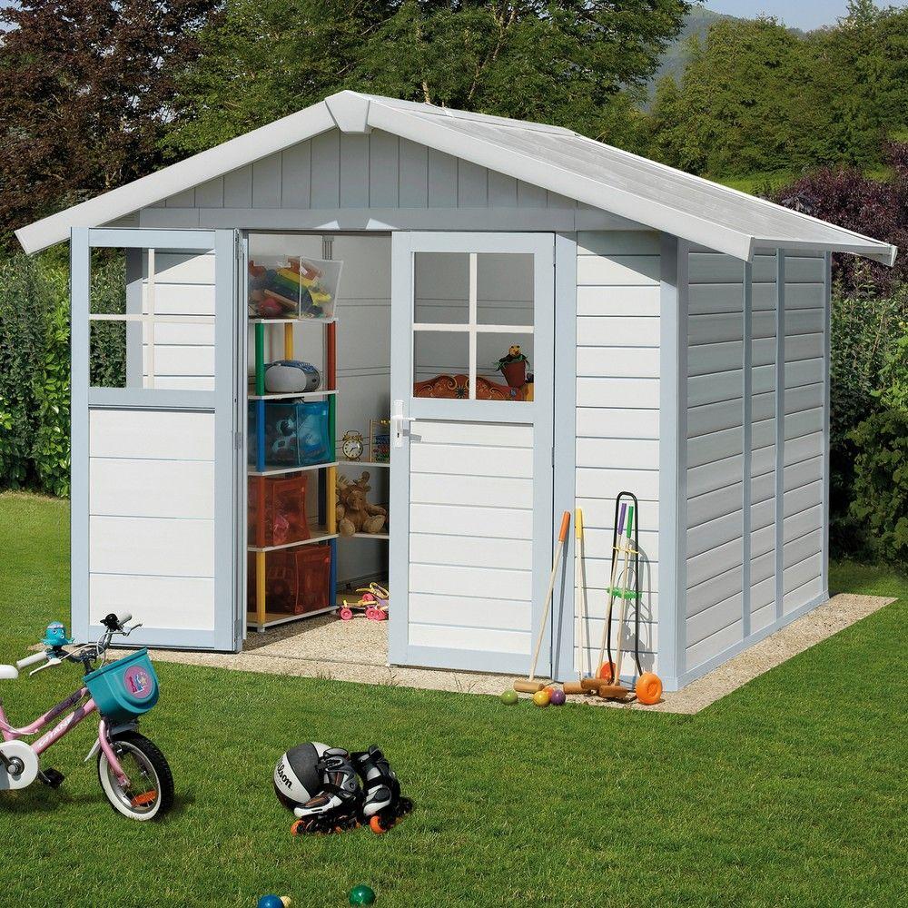 Abri De Jardin Résine Grosfillex 4,90 M² Ep.26 Mm Deco Gris/bleu serapportantà Abris De Jardin En Resine