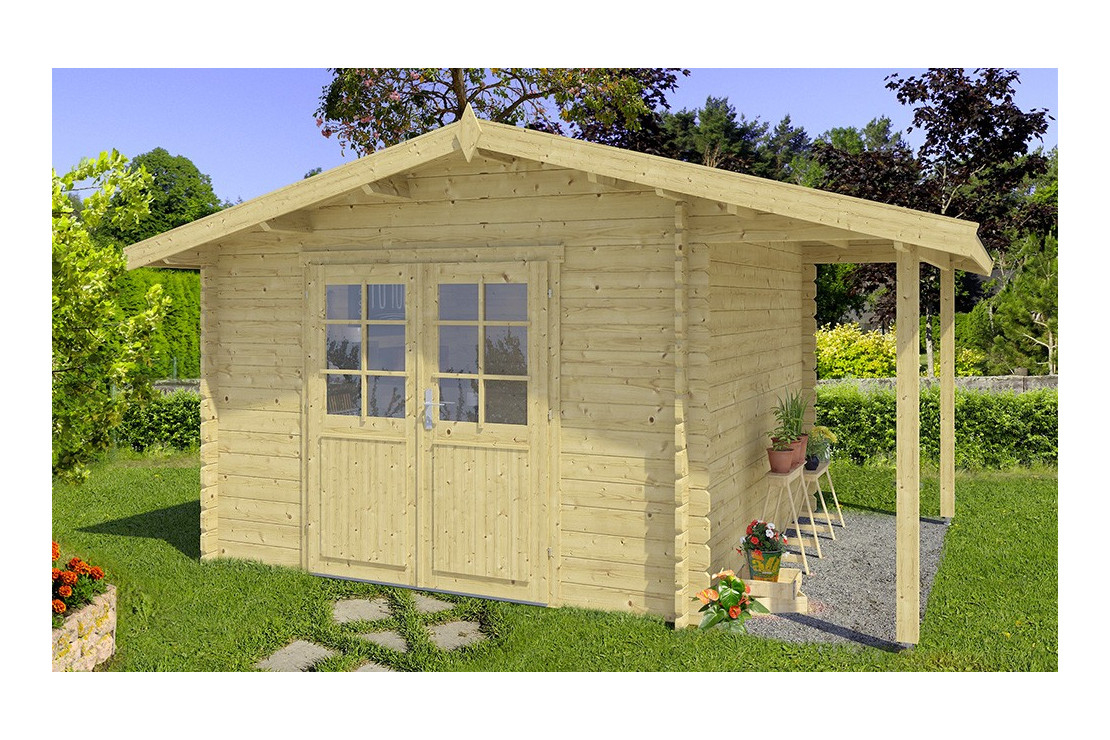 Abri De Jardin Roubaix 34Mm - 8,6M² Intérieur - Bûcher encequiconcerne Abri De Jardin Avec Bucher