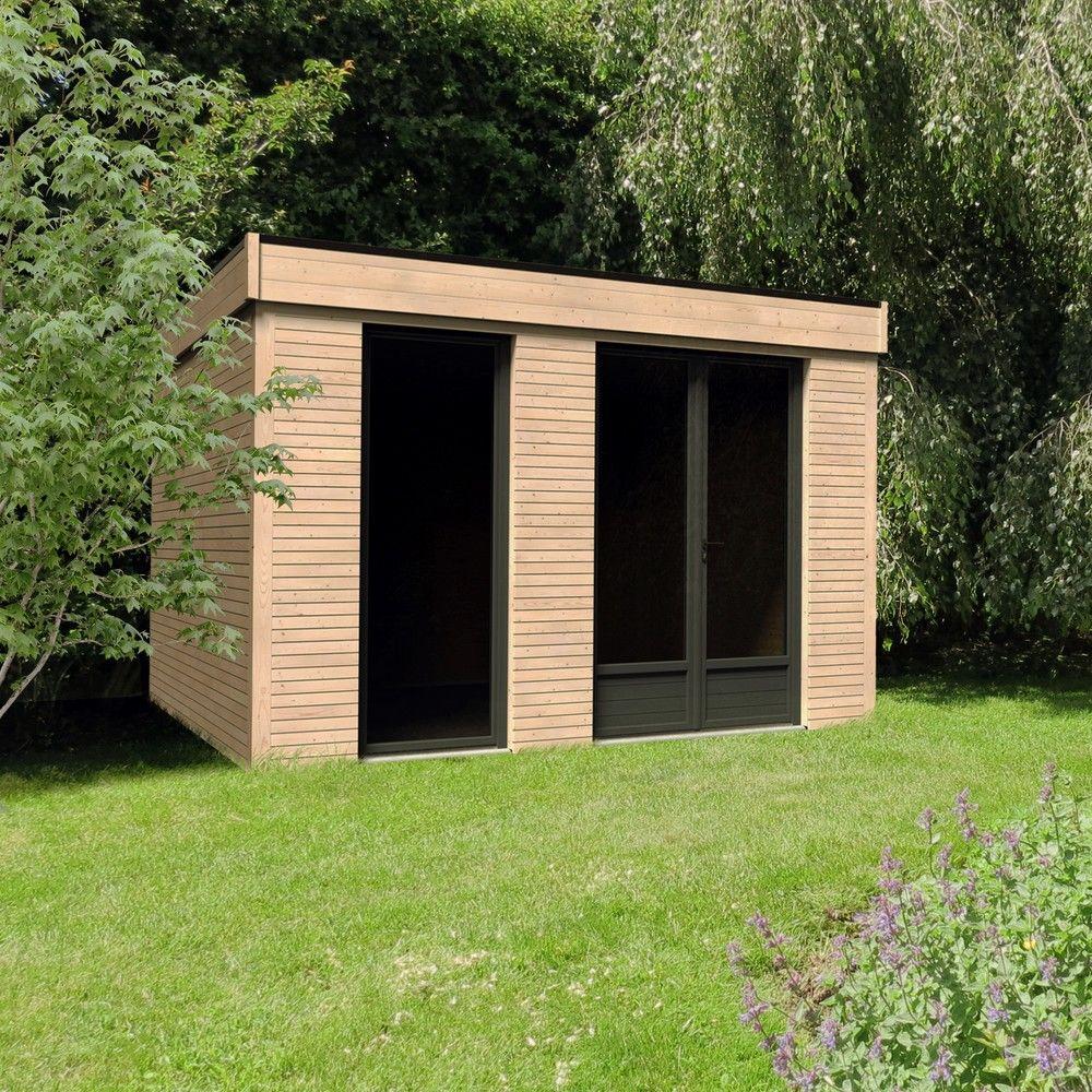 Abri De Jardin Semi Habitable Toit Plat Décor Home 10,91 M² Ep. 90 Mm tout Abri De Jardin Bois Toit Plat