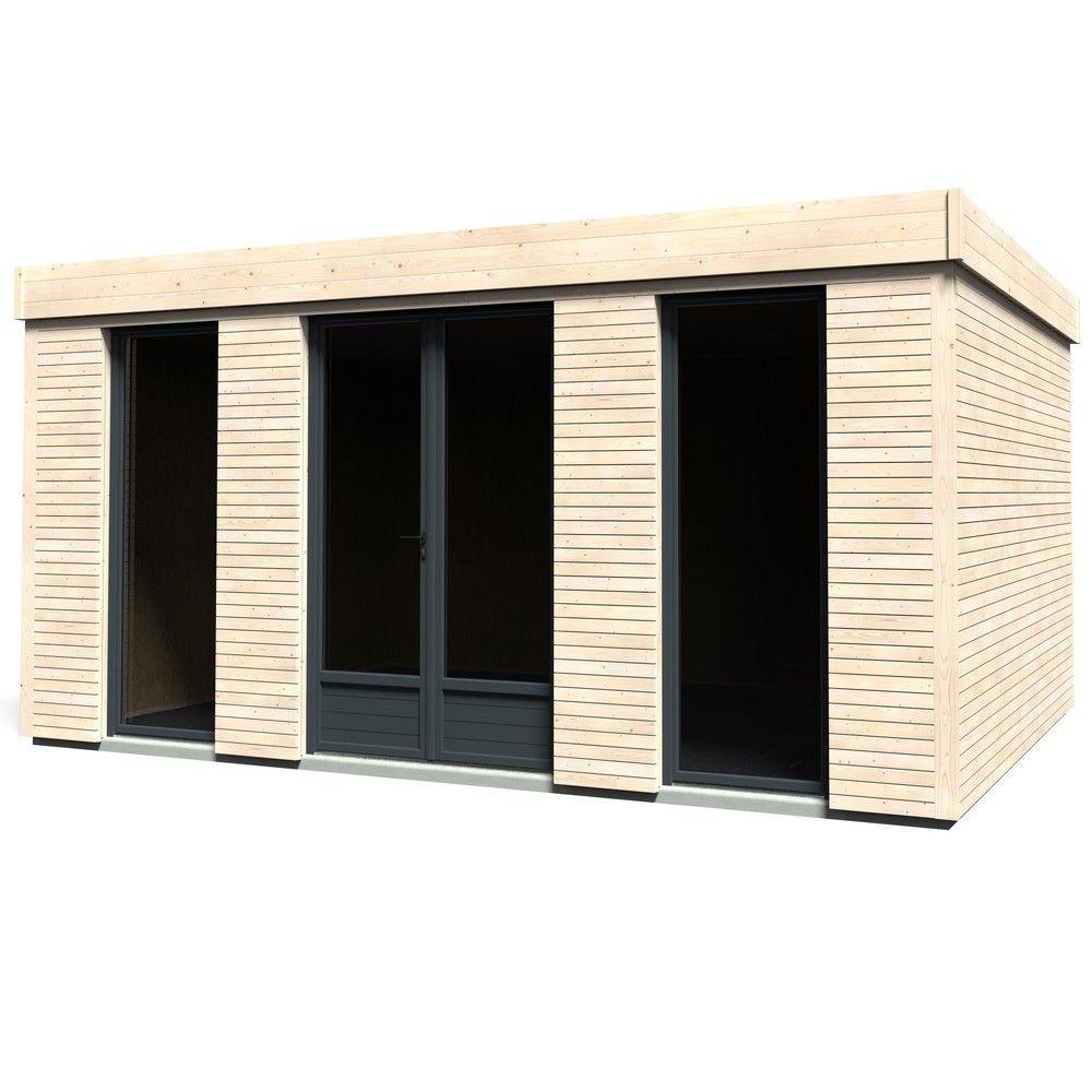 Abri De Jardin Semi Habitable Toit Plat Décor Home 18,14 M² Ep. 90 Mm encequiconcerne Abri De Jardin 15M2