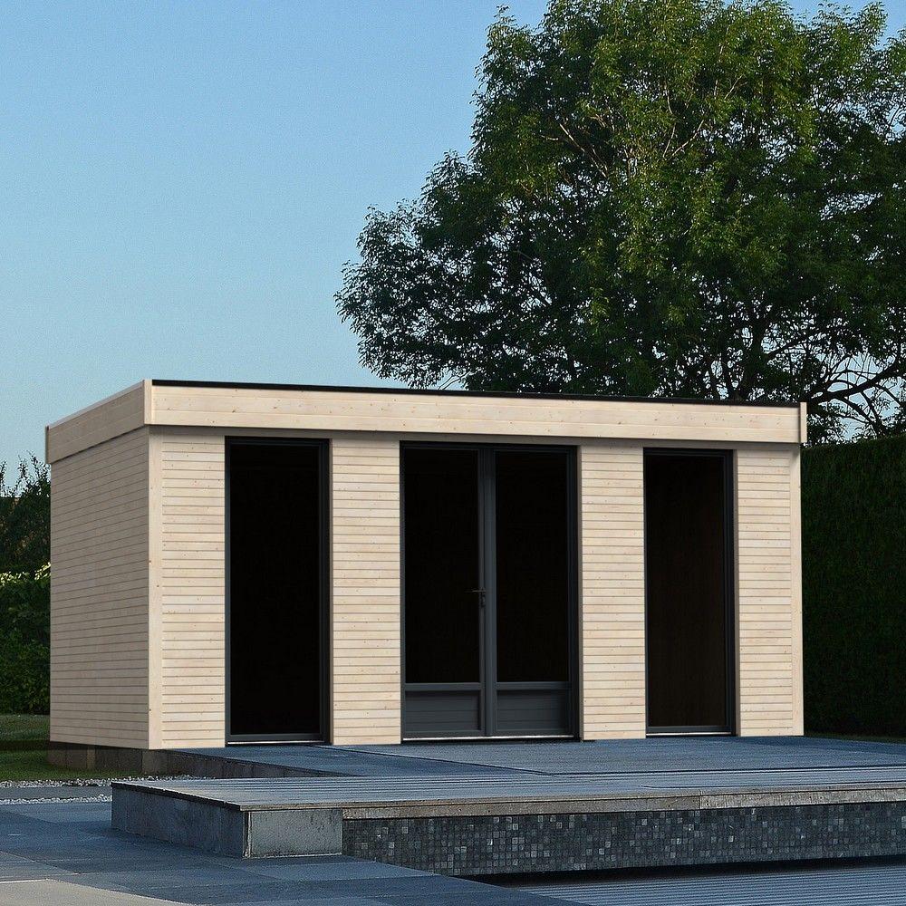 Abri De Jardin Semi Habitable Toit Plat Décor Home 18,14 M² Ep. 90 Mm serapportantà Abri De Jardin Pvc Toit Plat