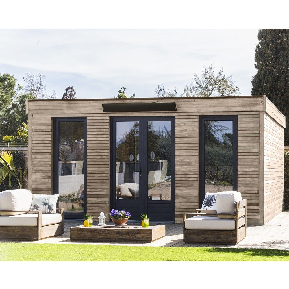 Abri De Jardin Semi Habitable Toit Plat Décor Home 24,70 M² Ep. 90 Mm intérieur Abris De Jardin 20M2