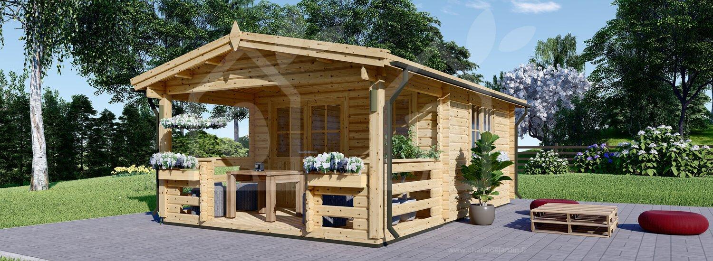 Abri De Jardin Shanon (66 Mm), 16 M² + 6 M² Terrasse destiné Abri De Terrasse En Bois