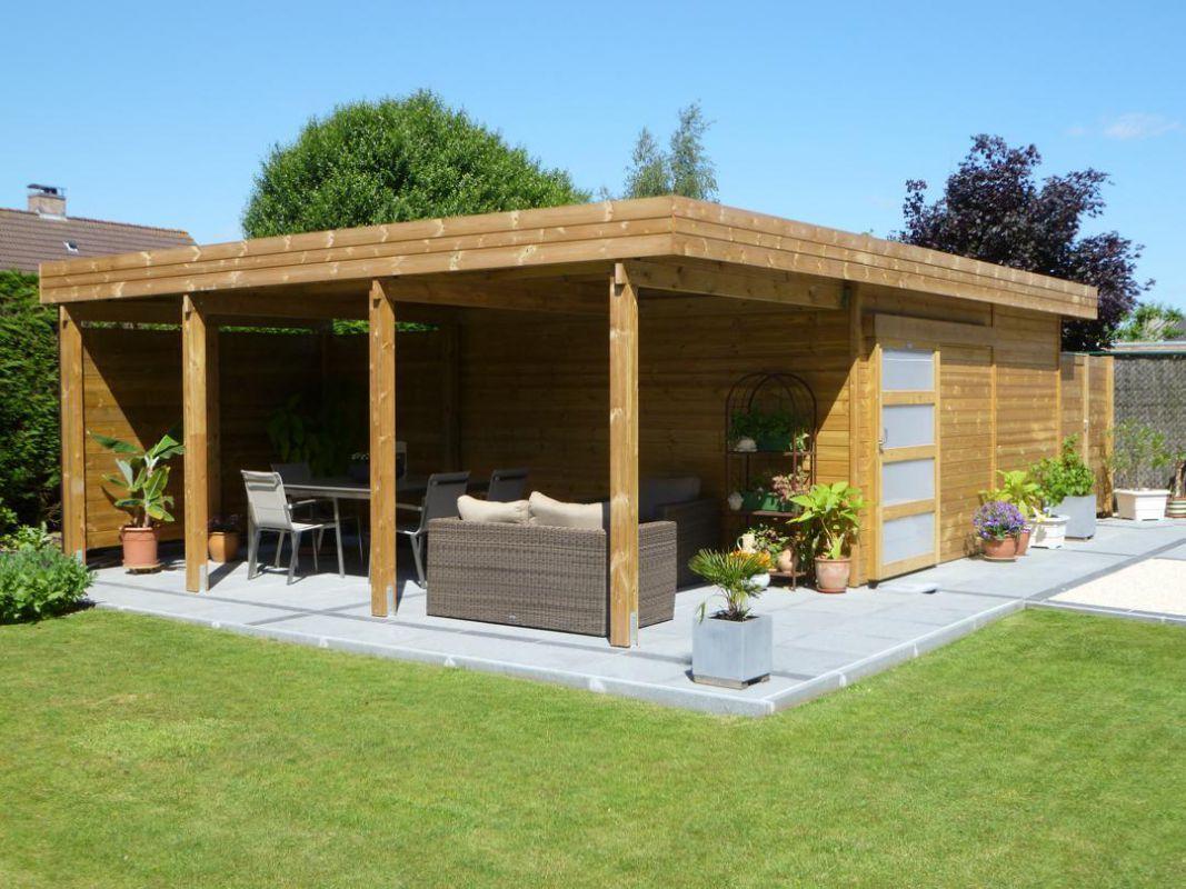Abri De Jardin Toit Plat En Bois Avec Terrasse | Abri De ... destiné Abri De Jardin Avec Bucher