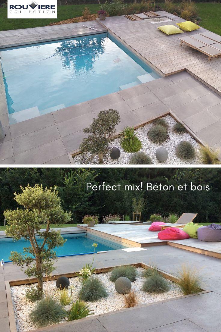 Affiliation Parfaite Du Bois Et Du Béton Pour Ce Excursion ... dedans Bois Pour Terrasse Piscine