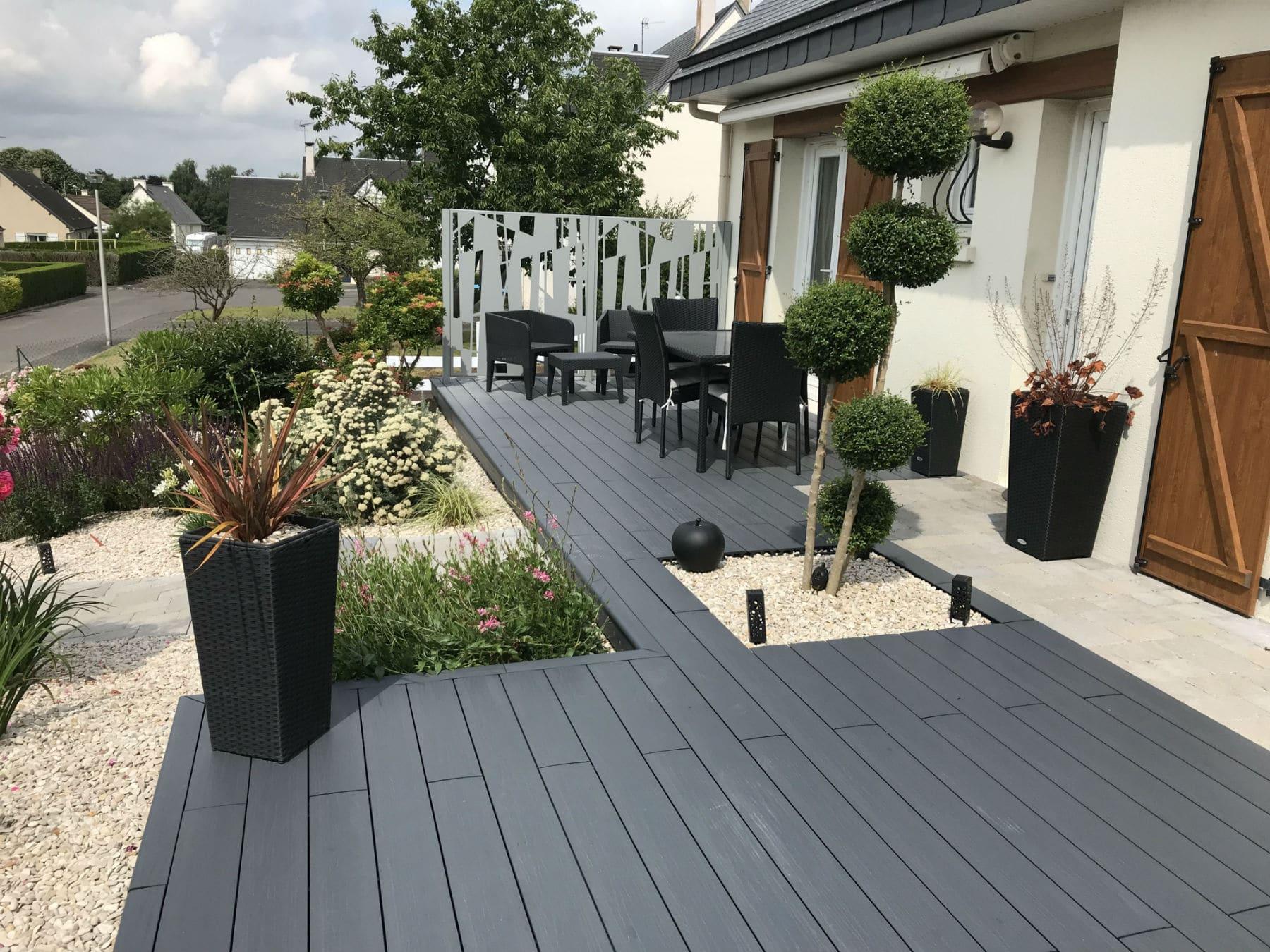 Aménagement De Terrasse En Résine - Aménagement Extérieur ... avec Amenager Une Grande Terrasse