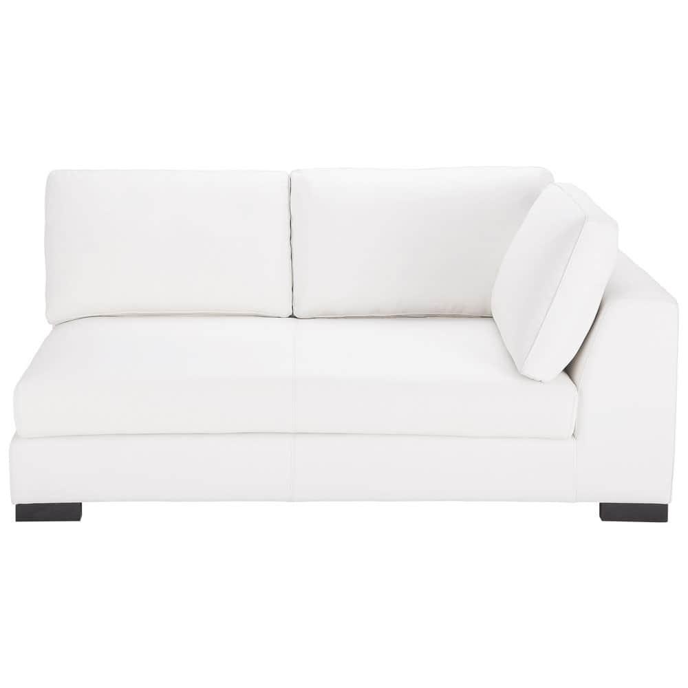 Angle Droit De Canapé-Lit En Cuir Blanc Terence | Lit En ... à Canape Convertible Cuir Blanc