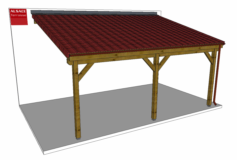 Appentis En Bois 4 X 6 M Couverture Tuiles Avec Hauteur De ... pour Auvent Bois Terrasse