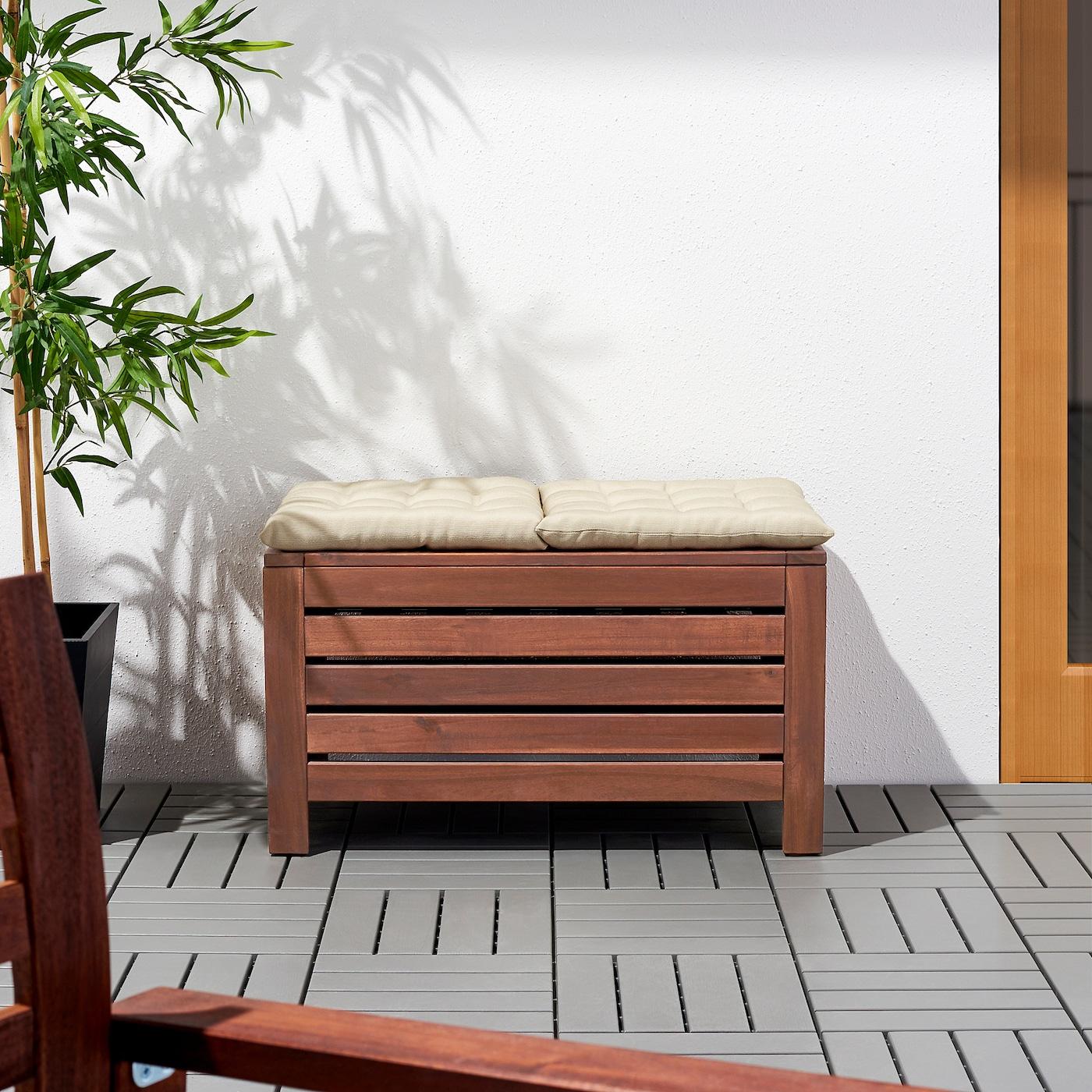 Äpplarö Banc Rangement, Extérieur - Brun Teinté Brun 80X41 Cm concernant Banc De Jardin Ikea