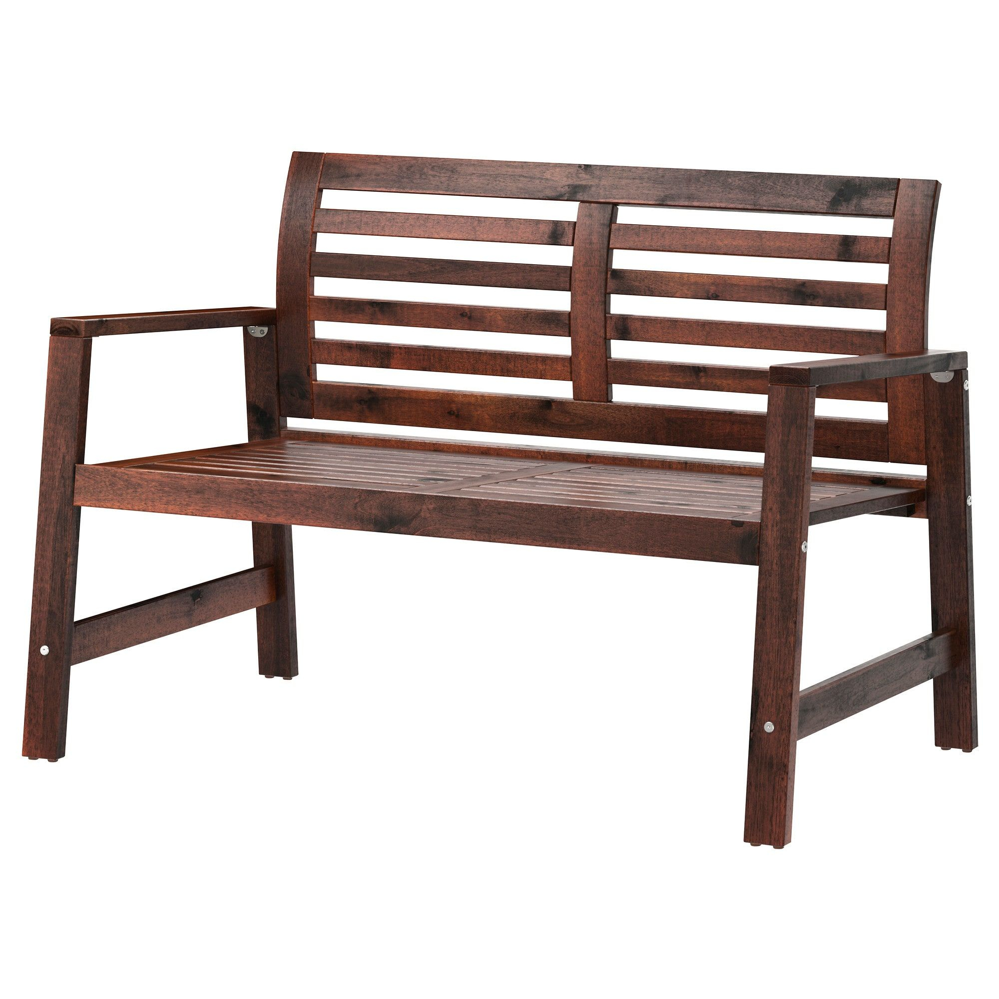 Äpplarö Bench With Backrest, Outdoor - Brown Stained Brown ... encequiconcerne Banc De Jardin Ikea