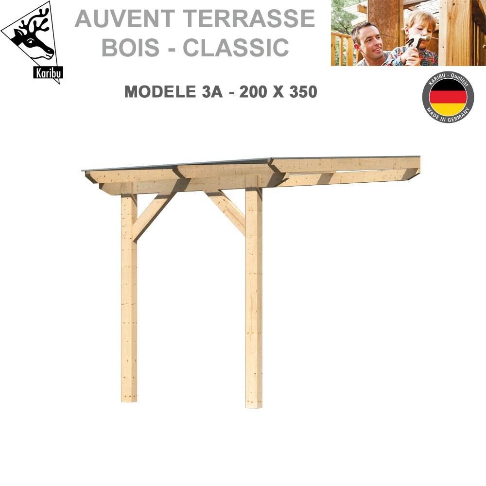 Auvent De Terrasse Bois Classic - Modèle A3 - L200 X P350 pour Auvent Bois Terrasse