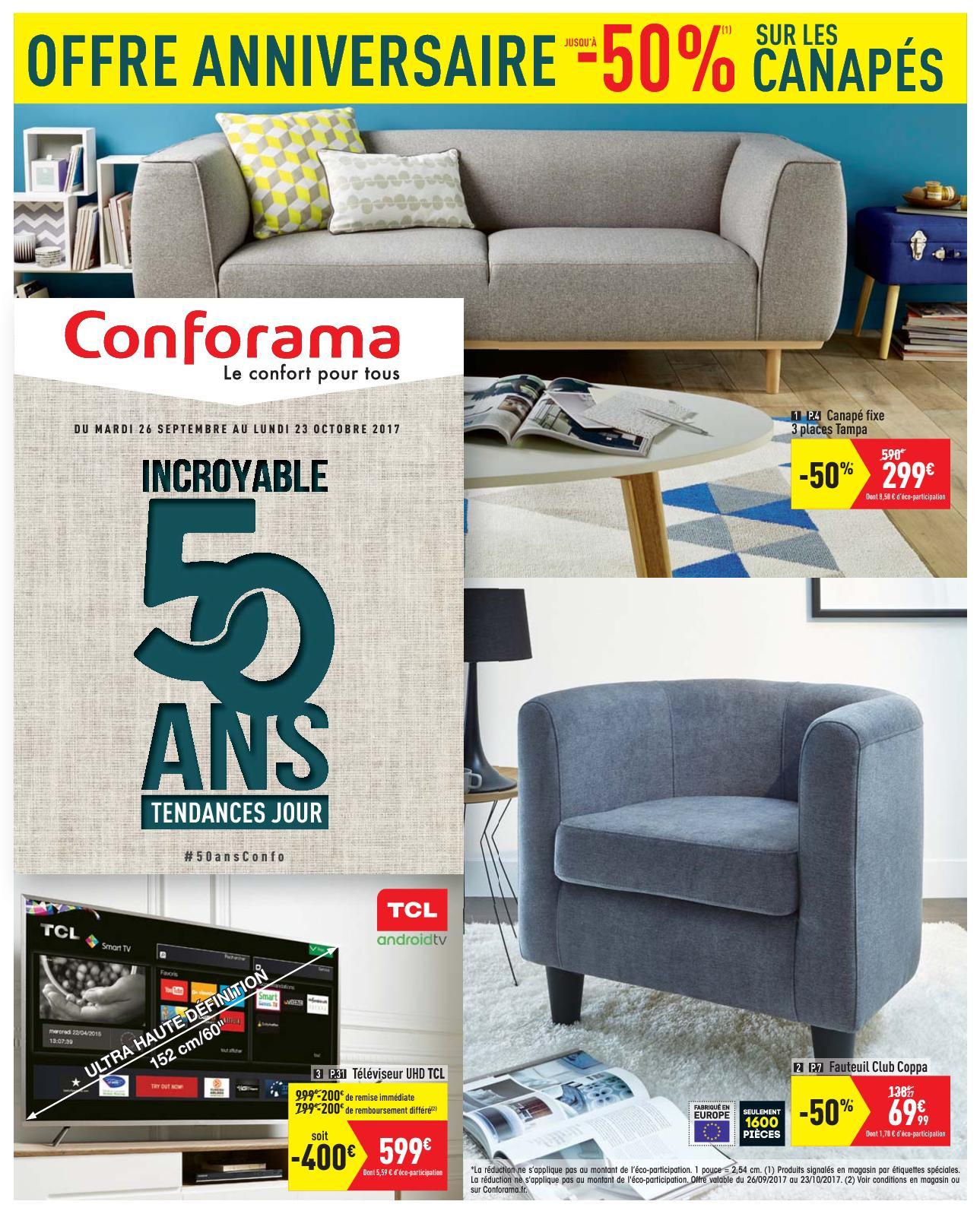 Calaméo - Catalogue Conforama 50 Ans Tendances Jour intérieur Fauteuil Lit Conforama