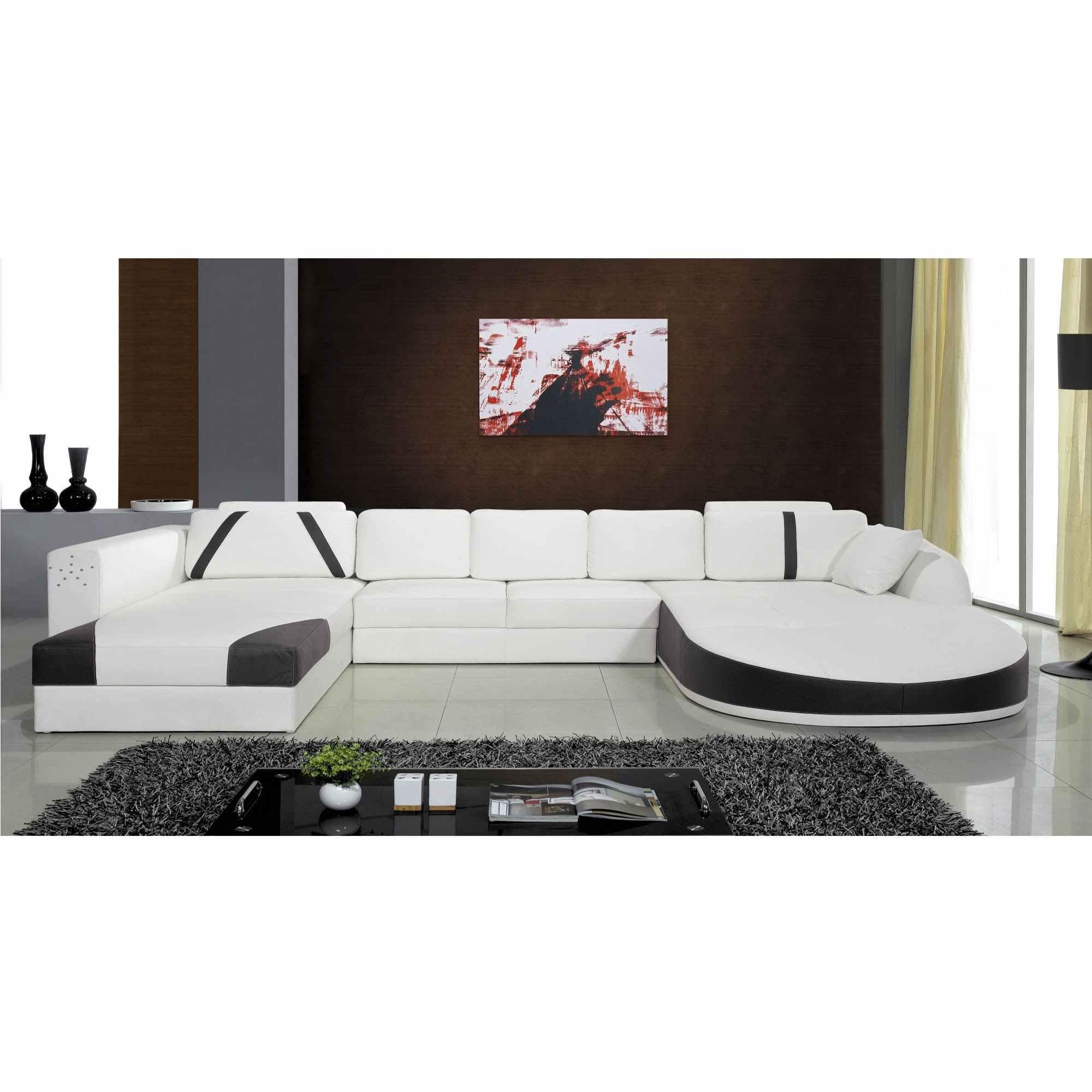 Canapé 2 Angles En Cuir Blanc Et Noir Sonia à Canape Deux Angles