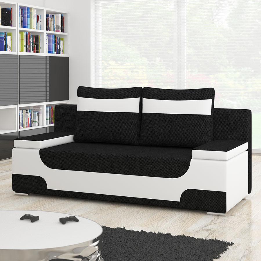 Canapé 2 Places Convertible Noir Et Blanc | Sofamobili destiné Canape Convertible Noir Et Blanc