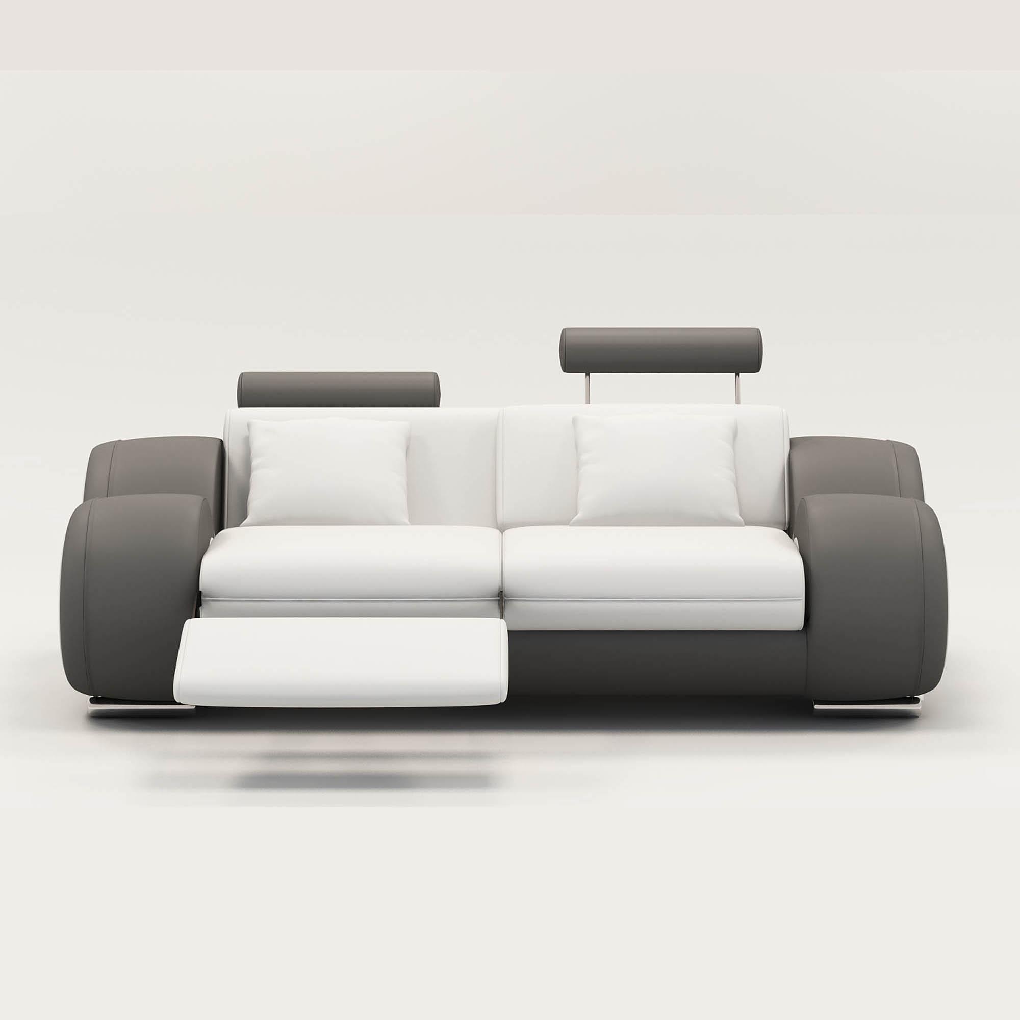 Canapé 2 Places Design Relax Oslo En Cuir Blanc Et Gris dedans Canape Cuir Blanc