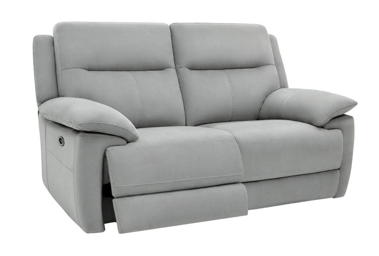 Canapé 2 Places Relax Élect. Curtiss Tissu Gris Pas Cher ... intérieur Canape Relax Electrique Pas Cher