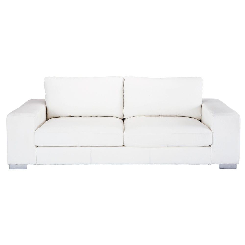 Canapé 3/4 Places En Cuir Blanc | Cuir Blanc, Canapé Maison ... pour Canape Cuir Blanc