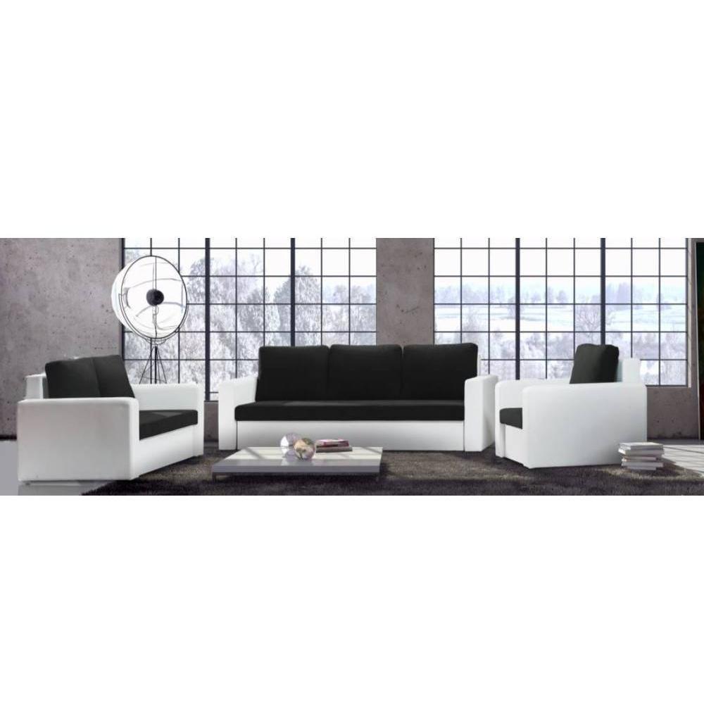 Canapé 3 Places Convertible Janus En Bi-Matière Noir Et Blanc destiné Canape Convertible Noir Et Blanc