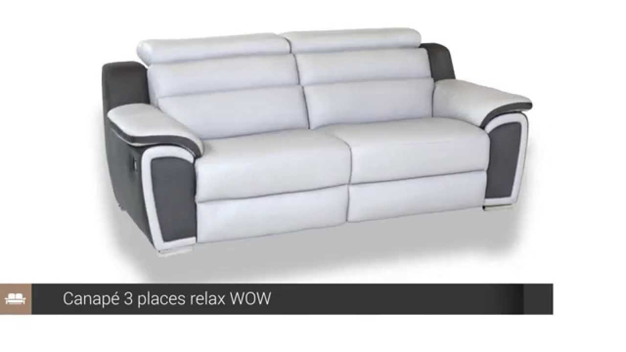 Canapé 3 Places Relax Cuir Wow - But tout Canape Relax Convertible