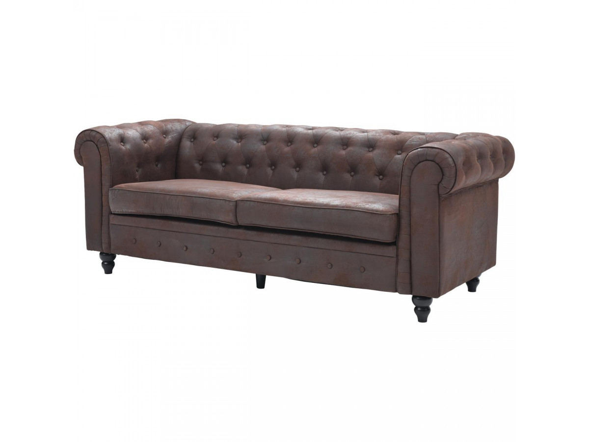 Canapé Chesterfield Capitonne Tonk Marron dedans Canape Chesterfield Convertible