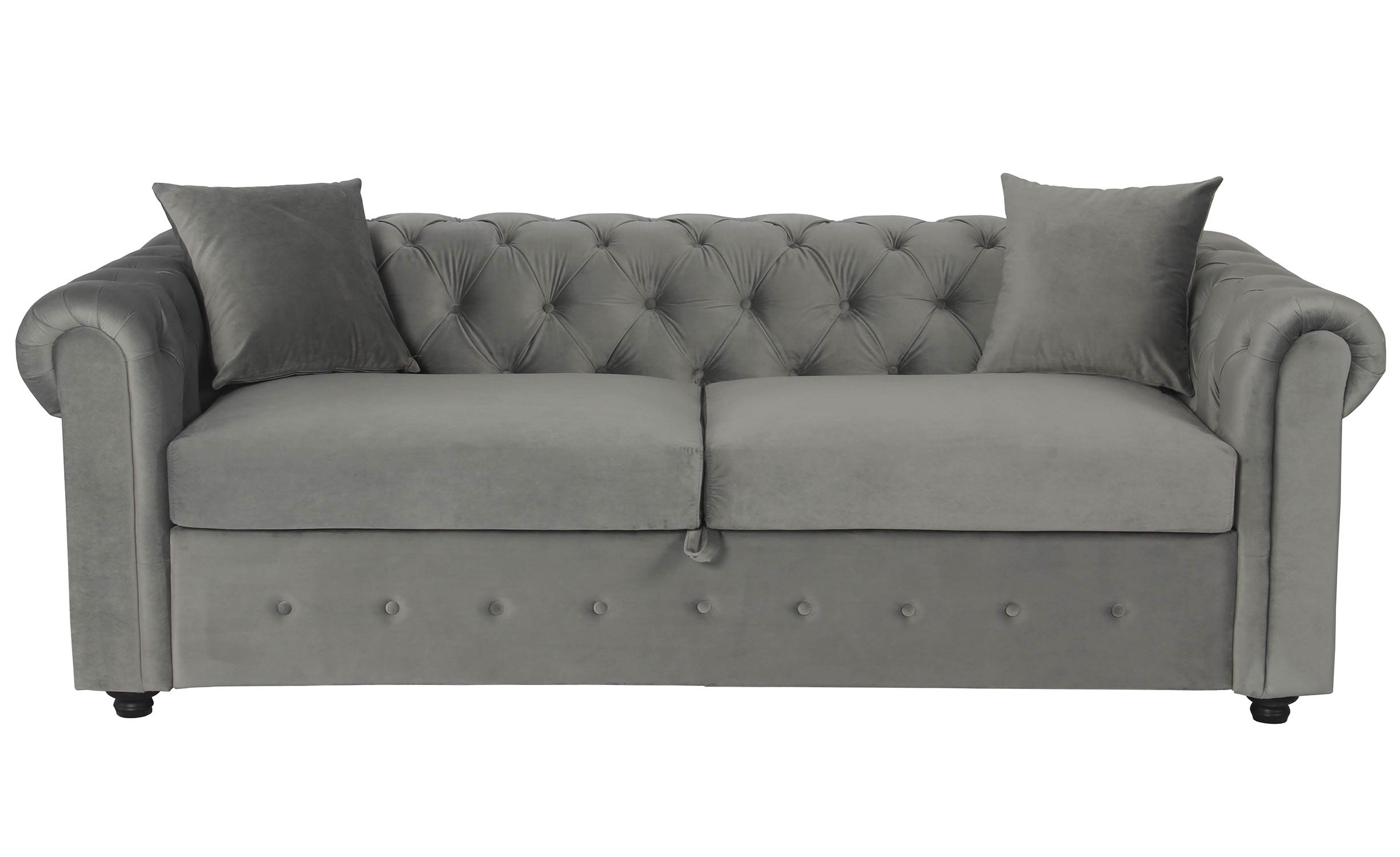 Canapé Chesterfield Convertible Express Avec Matelas Domingo Velours Argent serapportantà Canape Chesterfield Convertible