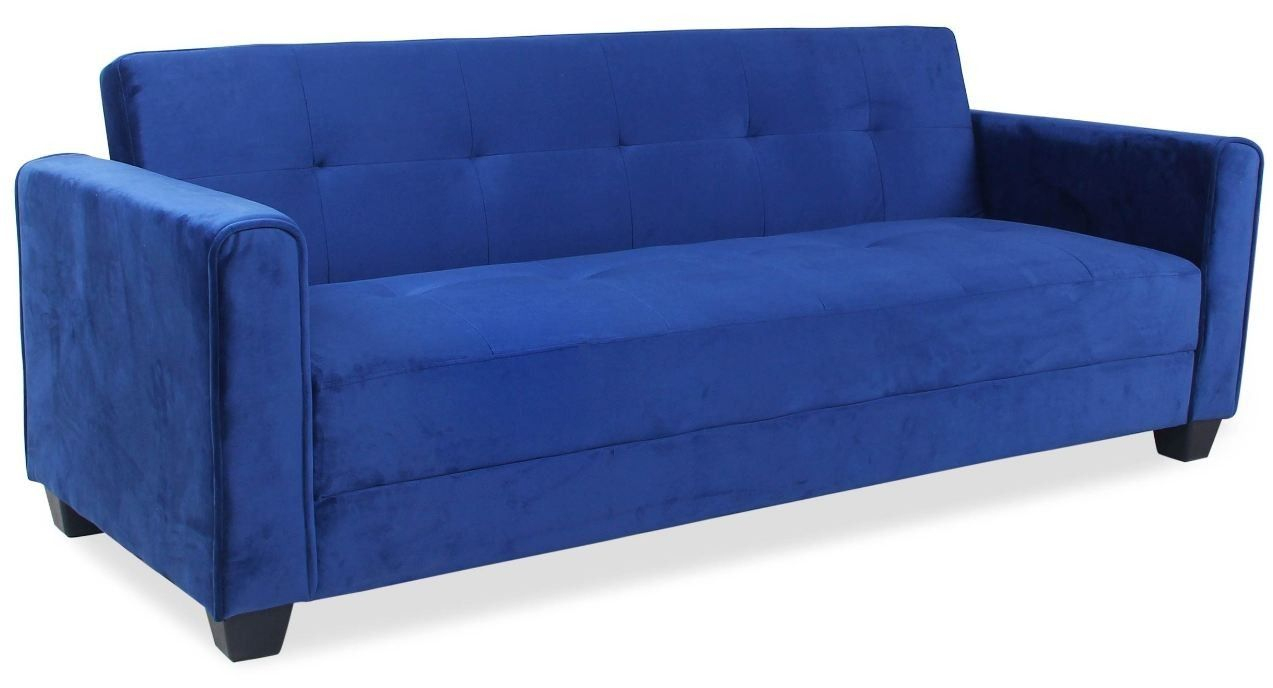 Canapé Convertible Capitonné 3 Places Velours Bleu Cyane ... tout Canape Convertible Tres Confortable