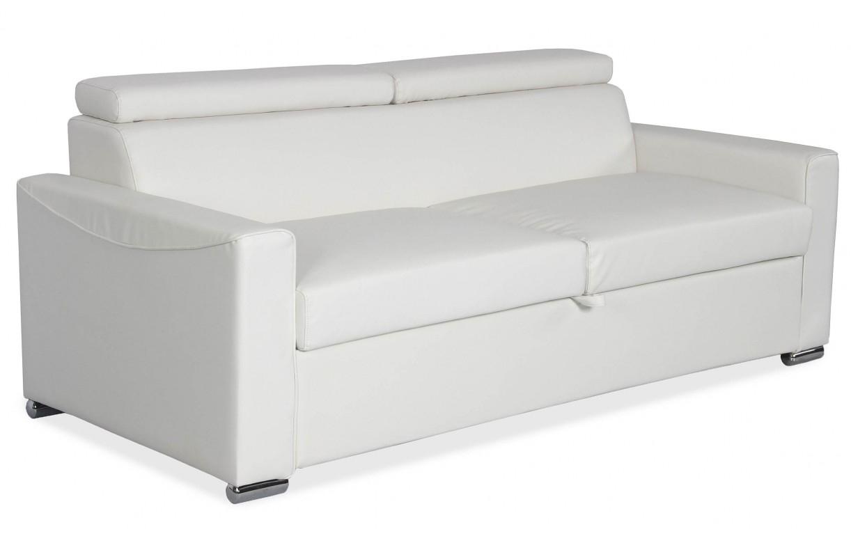 Canapé Convertible En Simili-Cuir Blanc Avec Matelas Intégré ... pour Canape Convertible Cuir Blanc