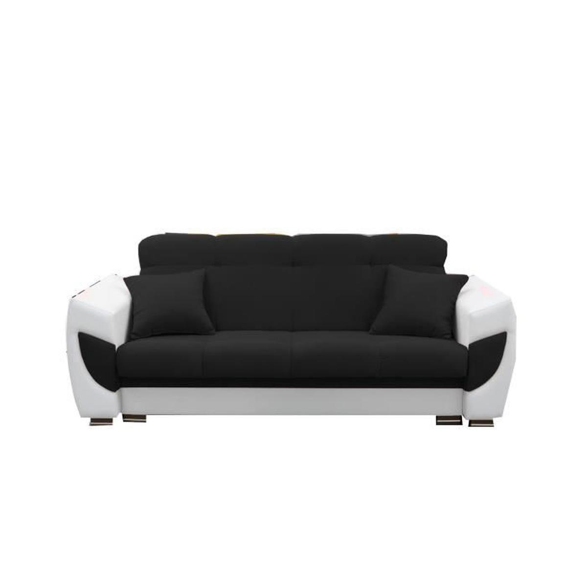 Canapé Convertible En Tissu Et Simili Cuir 3 Places Droit ... destiné Canape Convertible Cuir Blanc