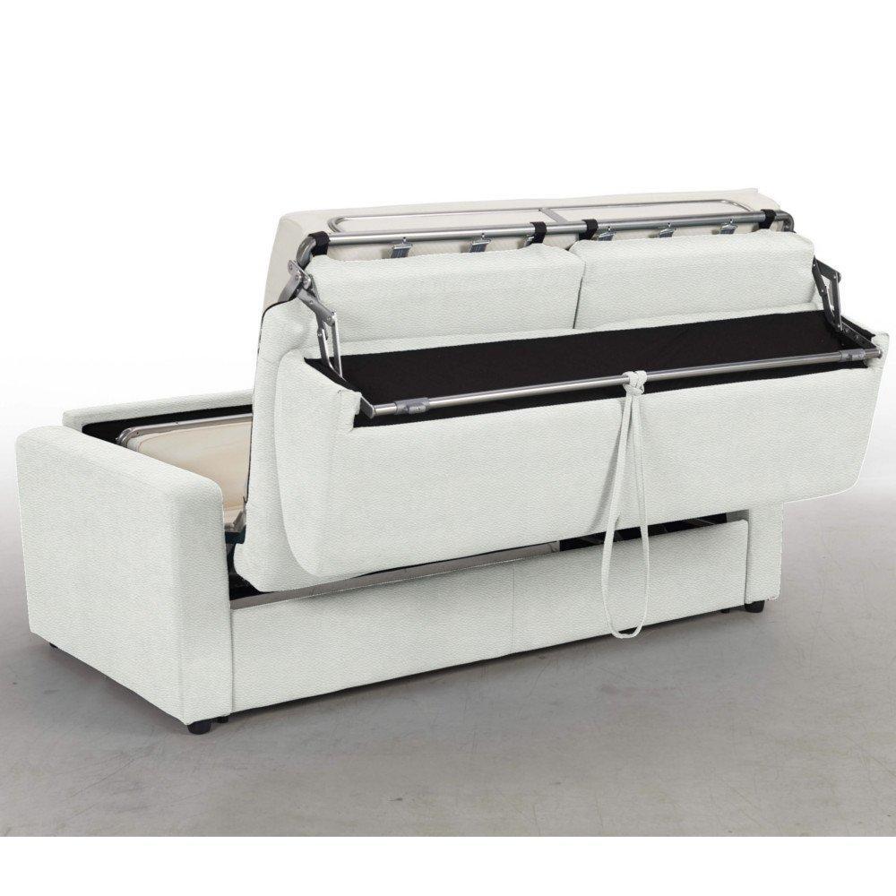 Canapé Convertible Midnight Rapido 140Cm Matelas 16Cm Polyuréthane Blanc tout Canape Convertible Cuir Blanc