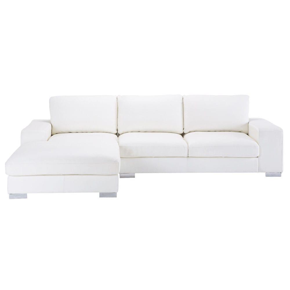 Canapé D'angle 5 Places En Cuir Blanc | Chambre A Coucher En ... concernant Canape Cuir Blanc
