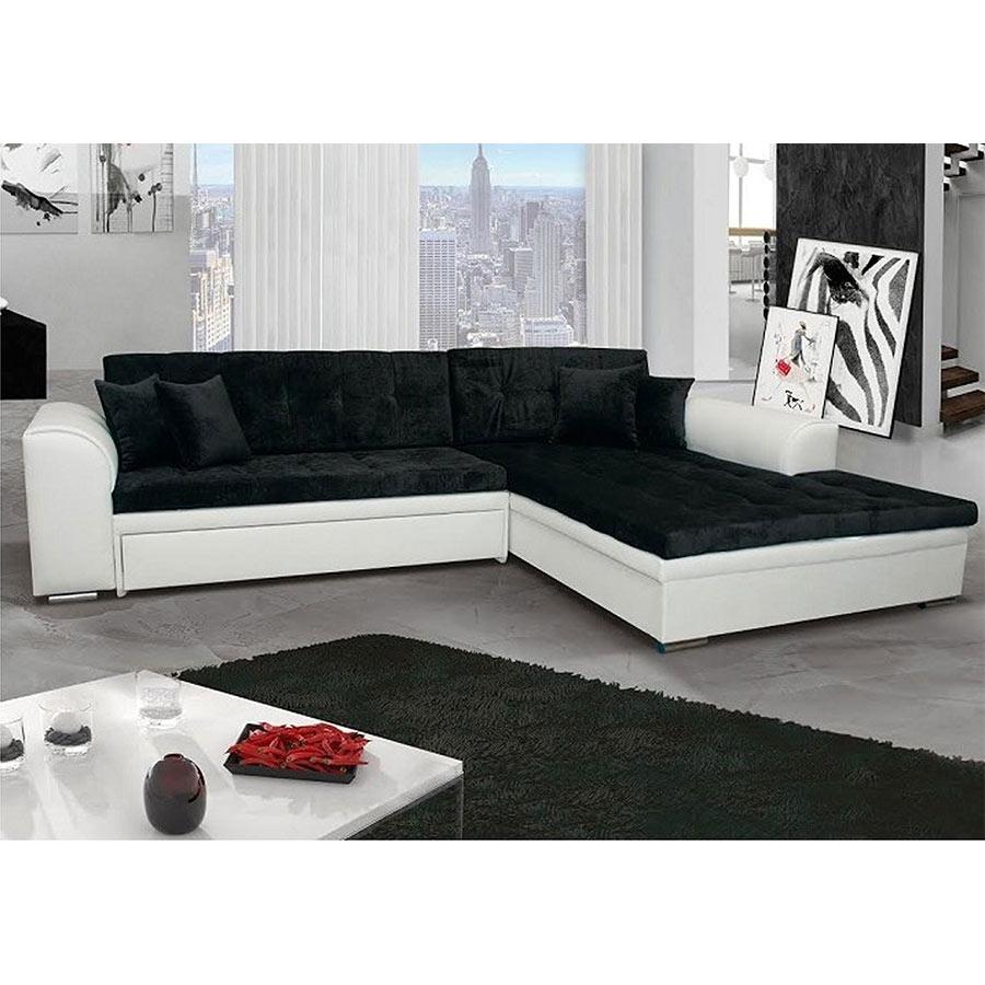 Canapé D'angle À Droite Convertible Noir Et Blanc Mila 3 intérieur Canape Convertible Noir Et Blanc