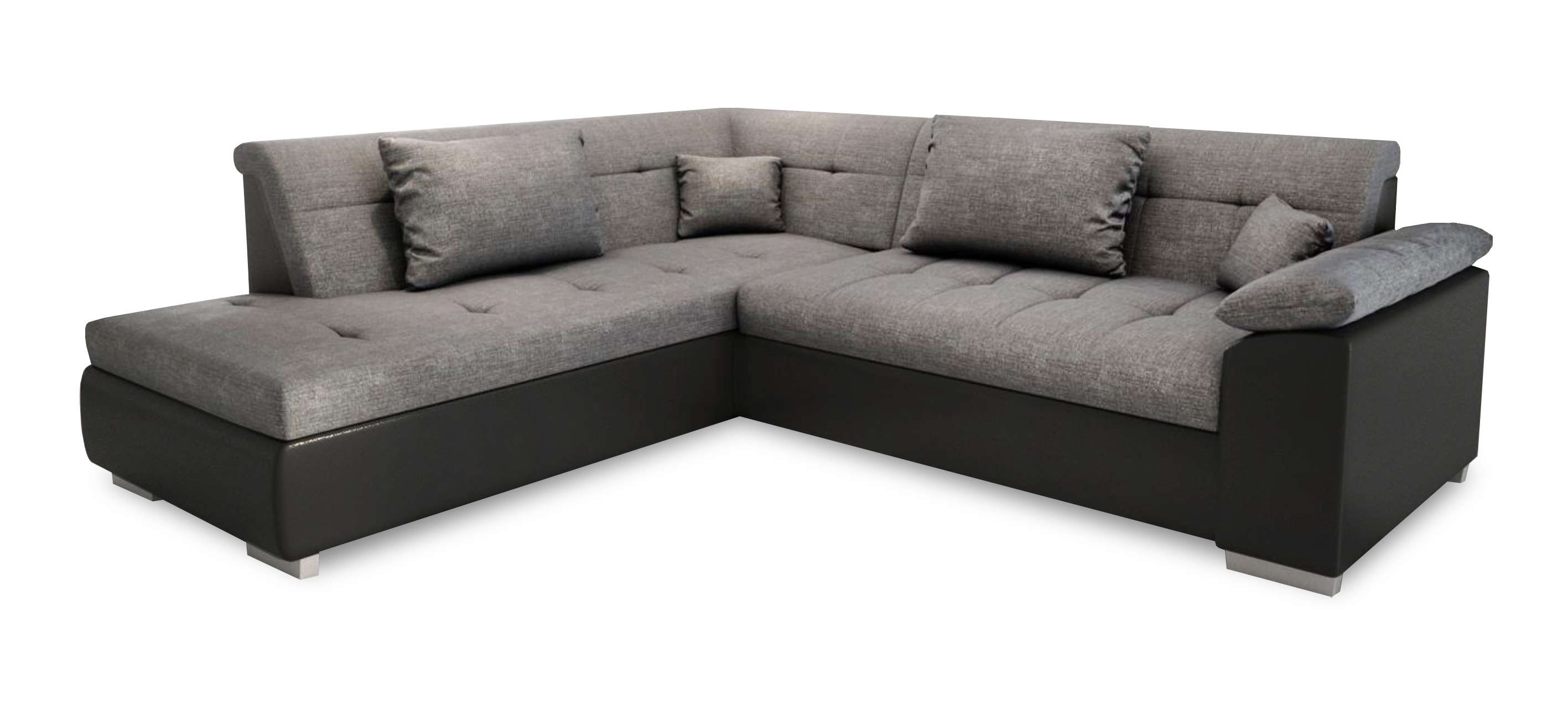 Canapé Dangle Convertible En Lit Lito - Angle Gauche En Tissu Gris Et  Simili Cuir Noir intérieur Canape Cuir Convertible