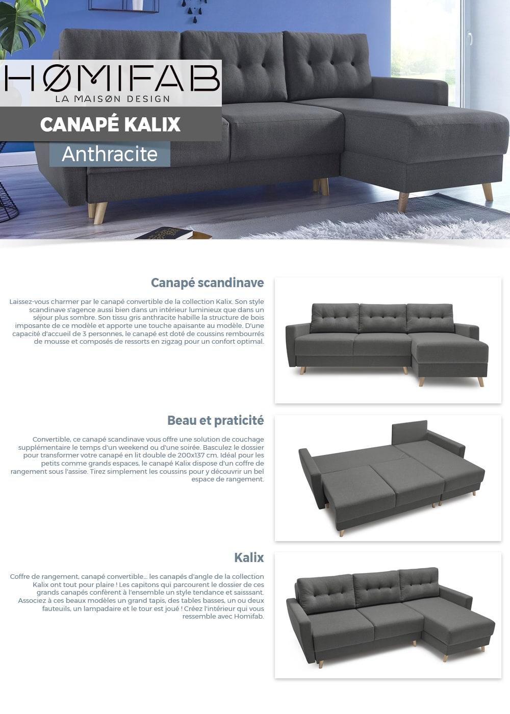 Canapé D'angle Convertible En Tissu Gris Anthracite Kalix - Avec Couchage  140X200 Cm, Coffre De Rangement, Angle Réversible. tout Ensemble Canape Scandinave