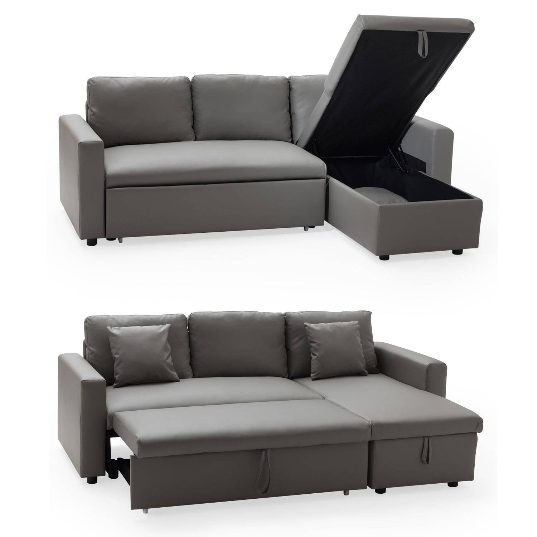 Canapé D'angle Convertible Simili Cuir 3 Places Taupe Avec ... intérieur Canape Cuir Convertible