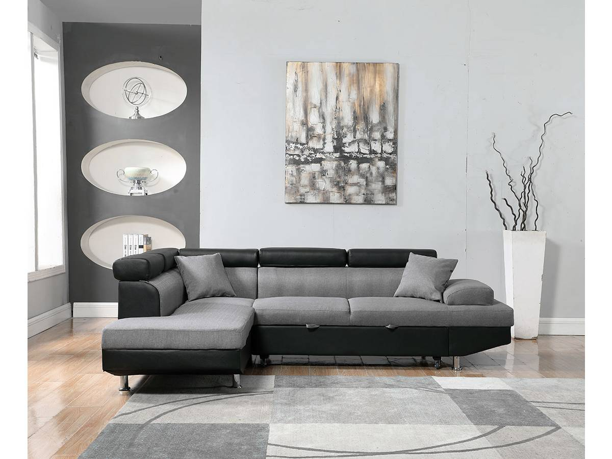 """Canapé D'angle Convertible """"sophia Luxe"""" - 265 X 190.5 X 80 ... pour Achat Canape D Angle"""
